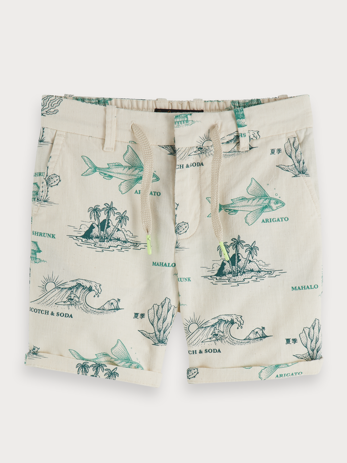 Boys Printed cotton-linen shorts