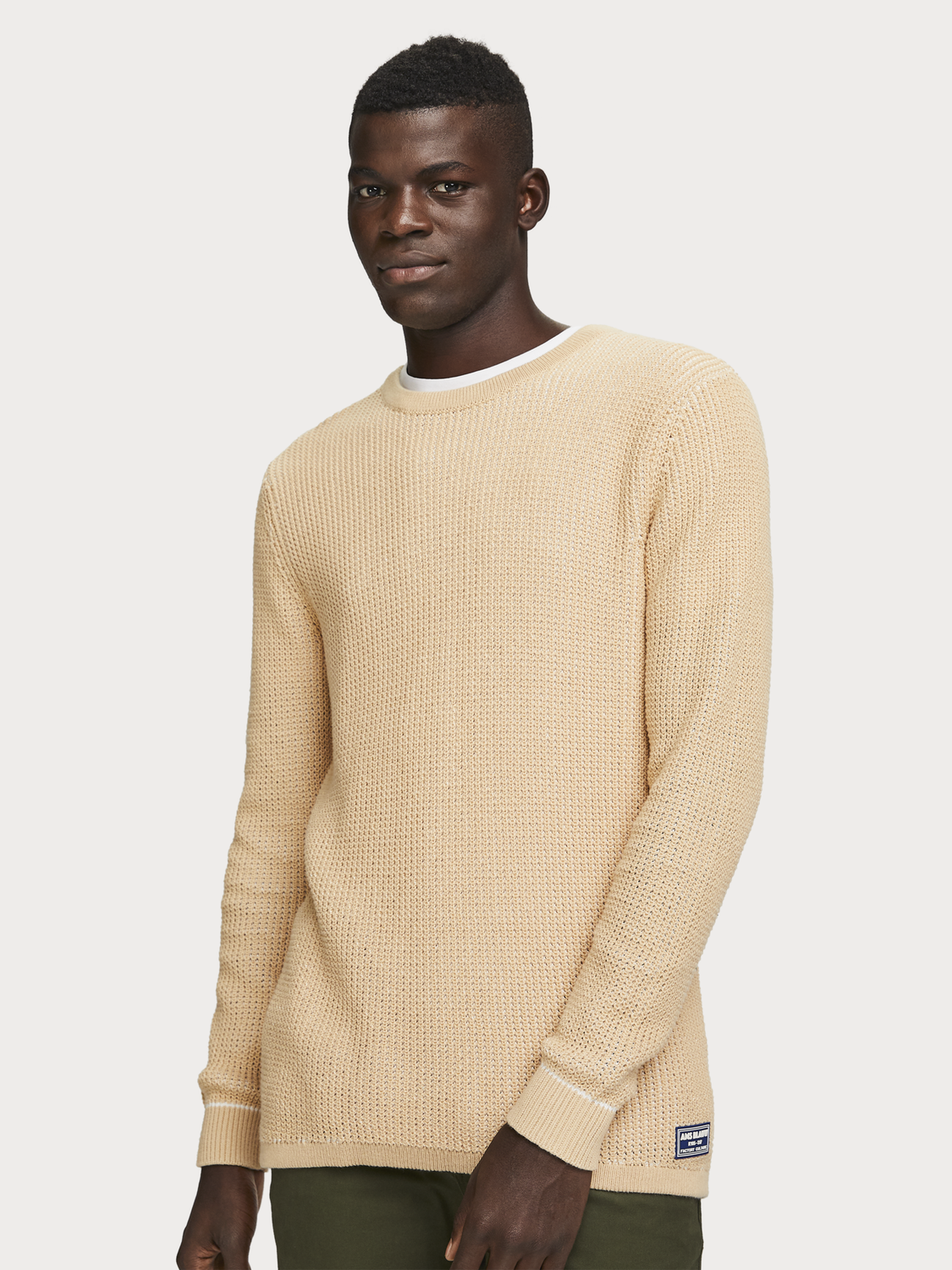 Men Waffle Knit Pullover