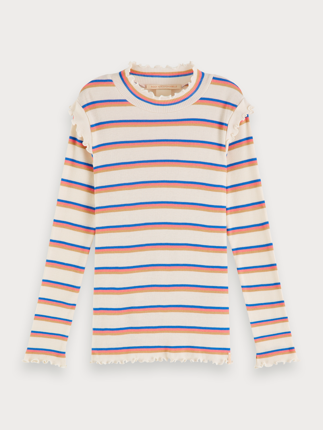 Girls Striped rib knitted t-shirt