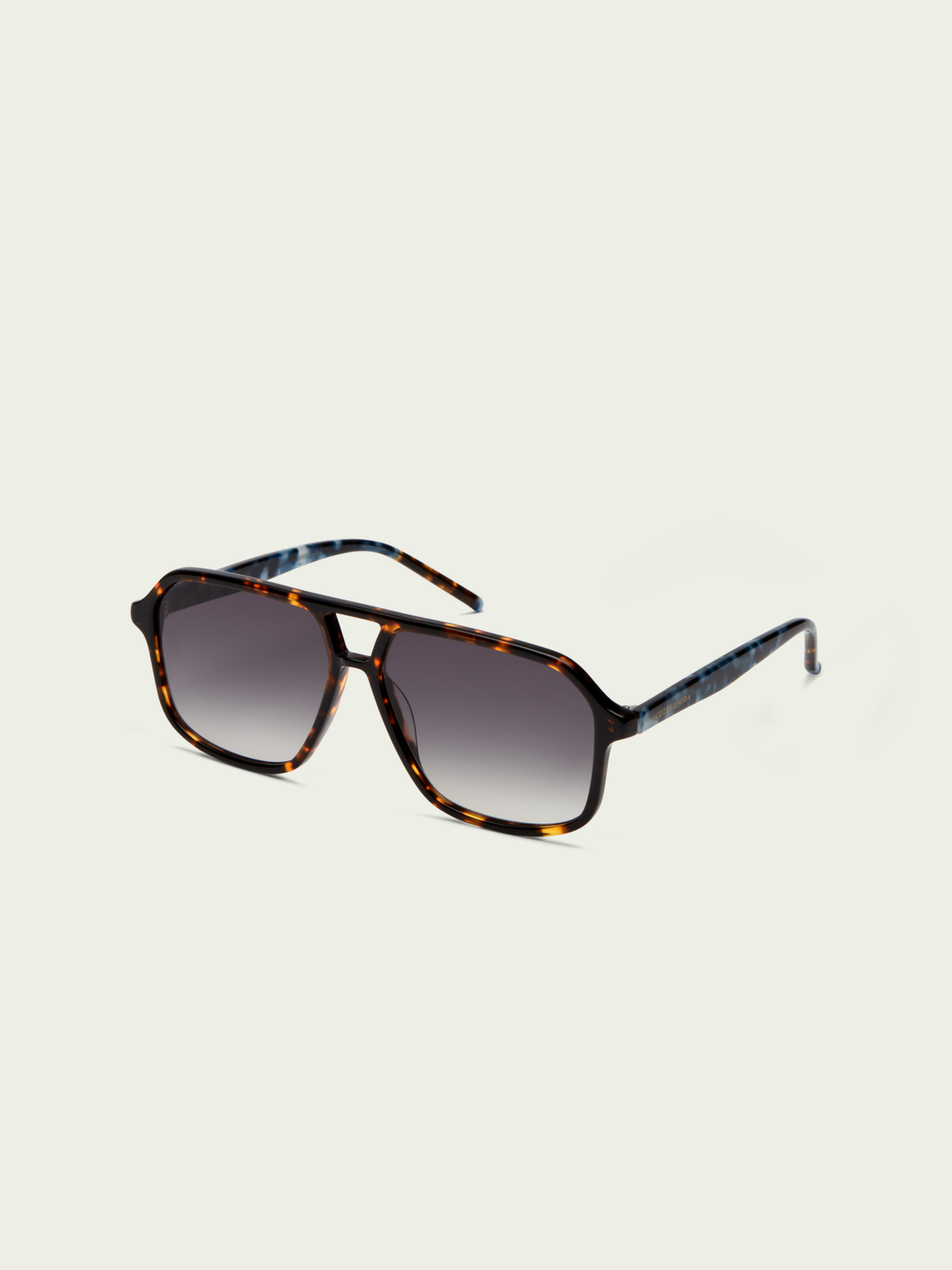 Men Walnut - two-tone acetate aviator sunglasses