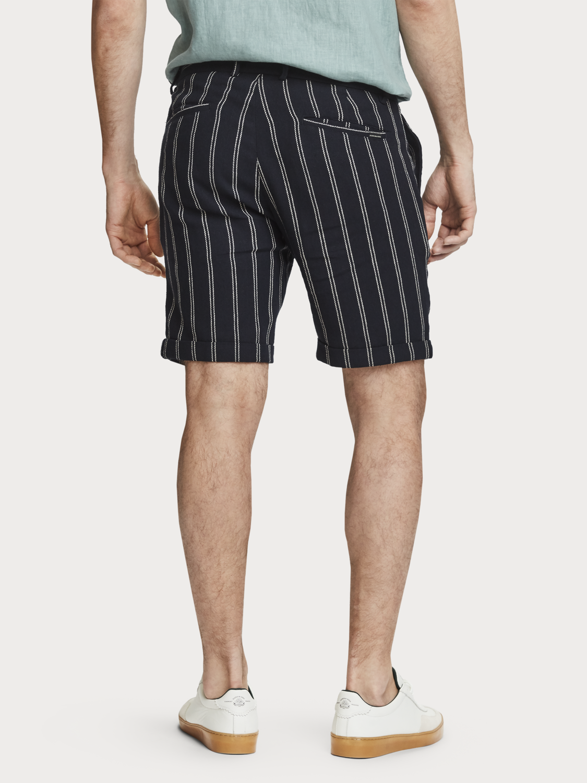 Uomo Shorts fantasia in cotone e lino