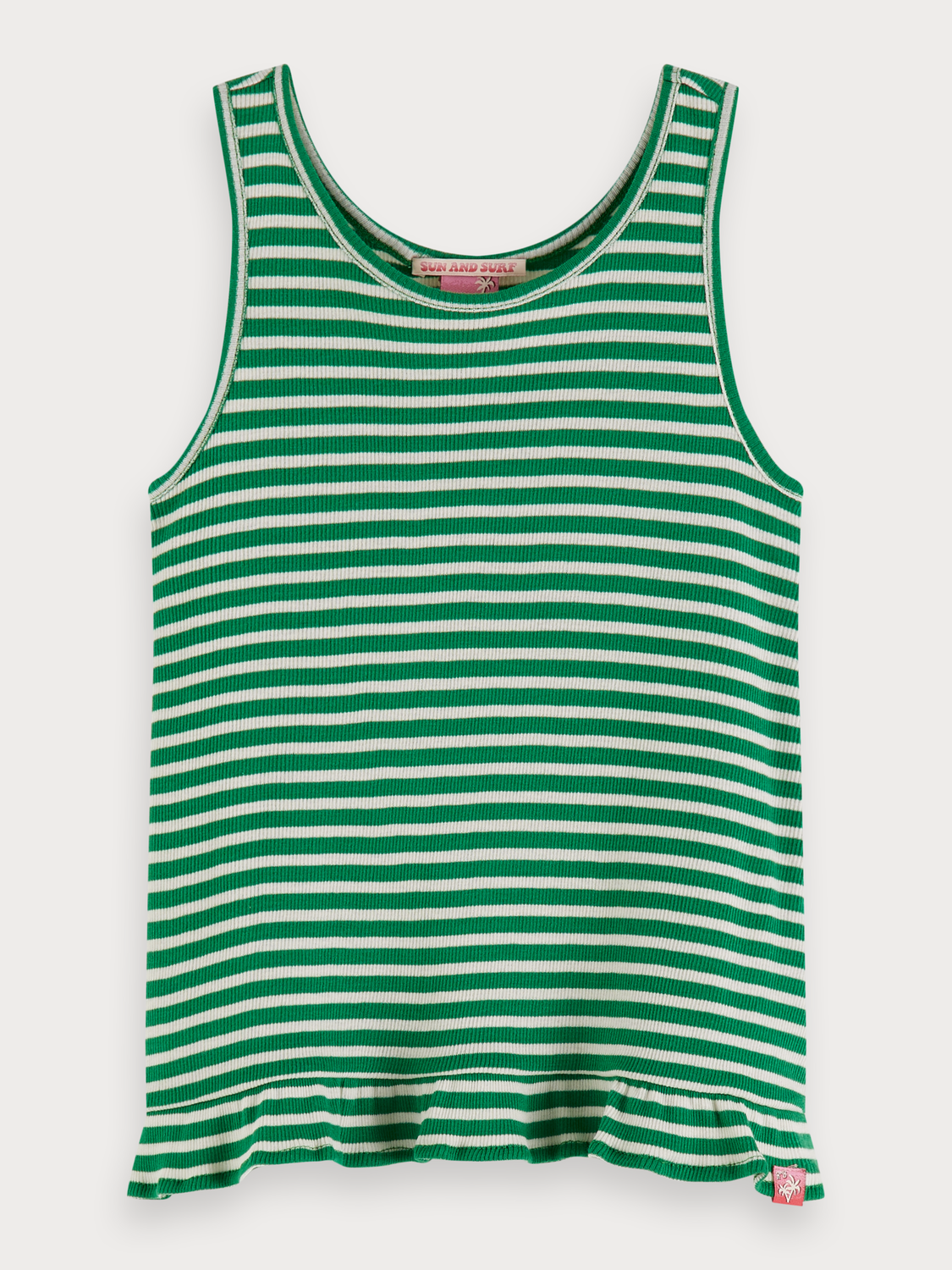 Girls Striped Rib Knitted Tank Top