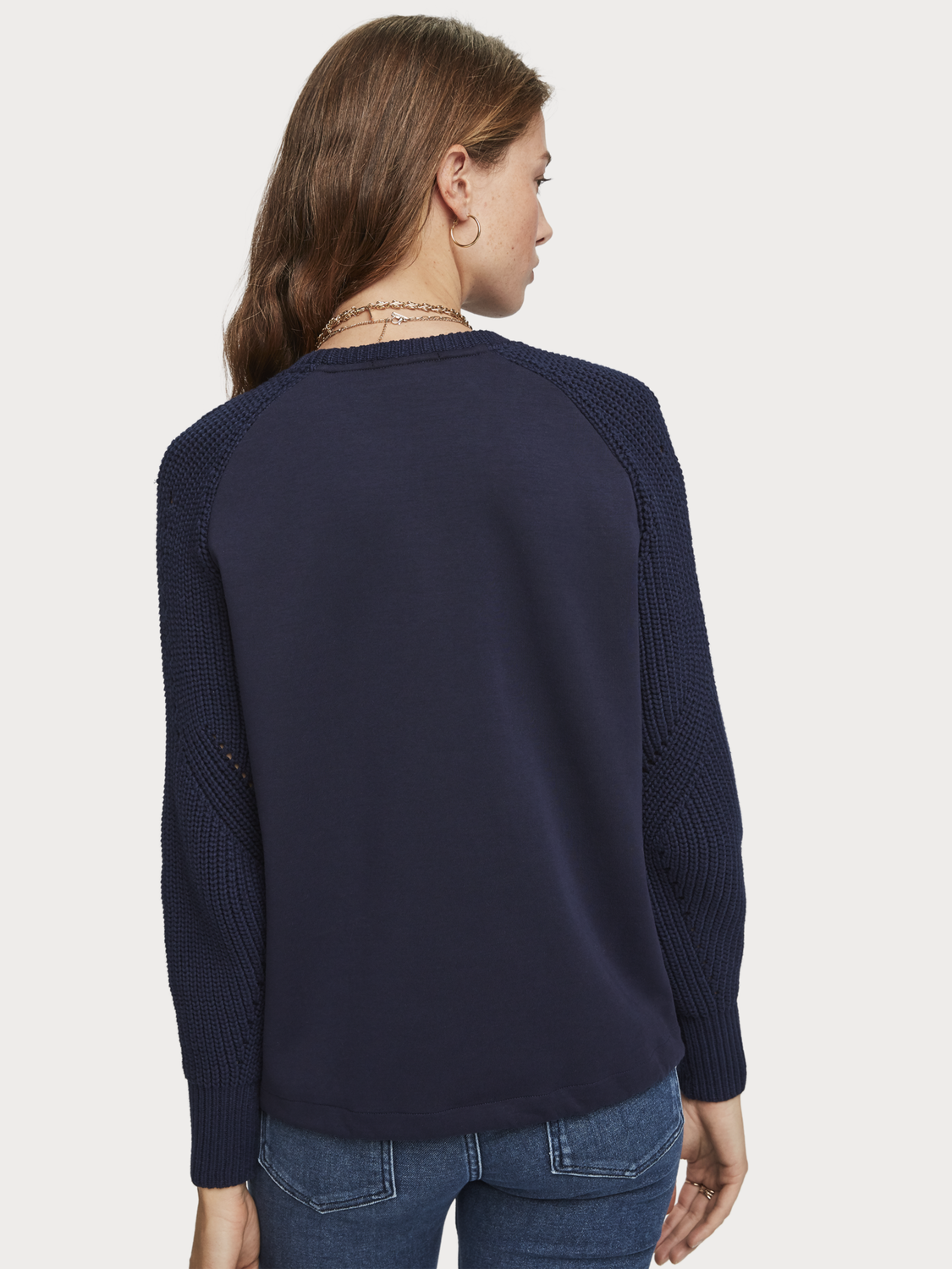 Women Mixed Crew Neck Sweater