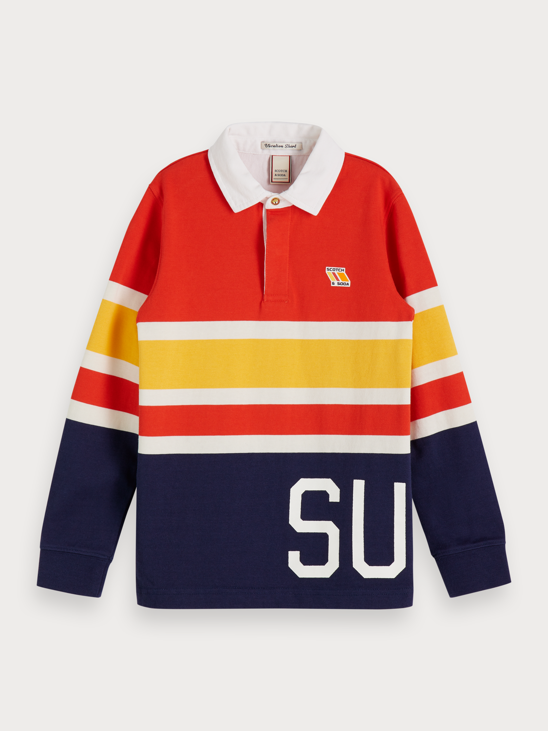 Boys Long Sleeved Striped Polo