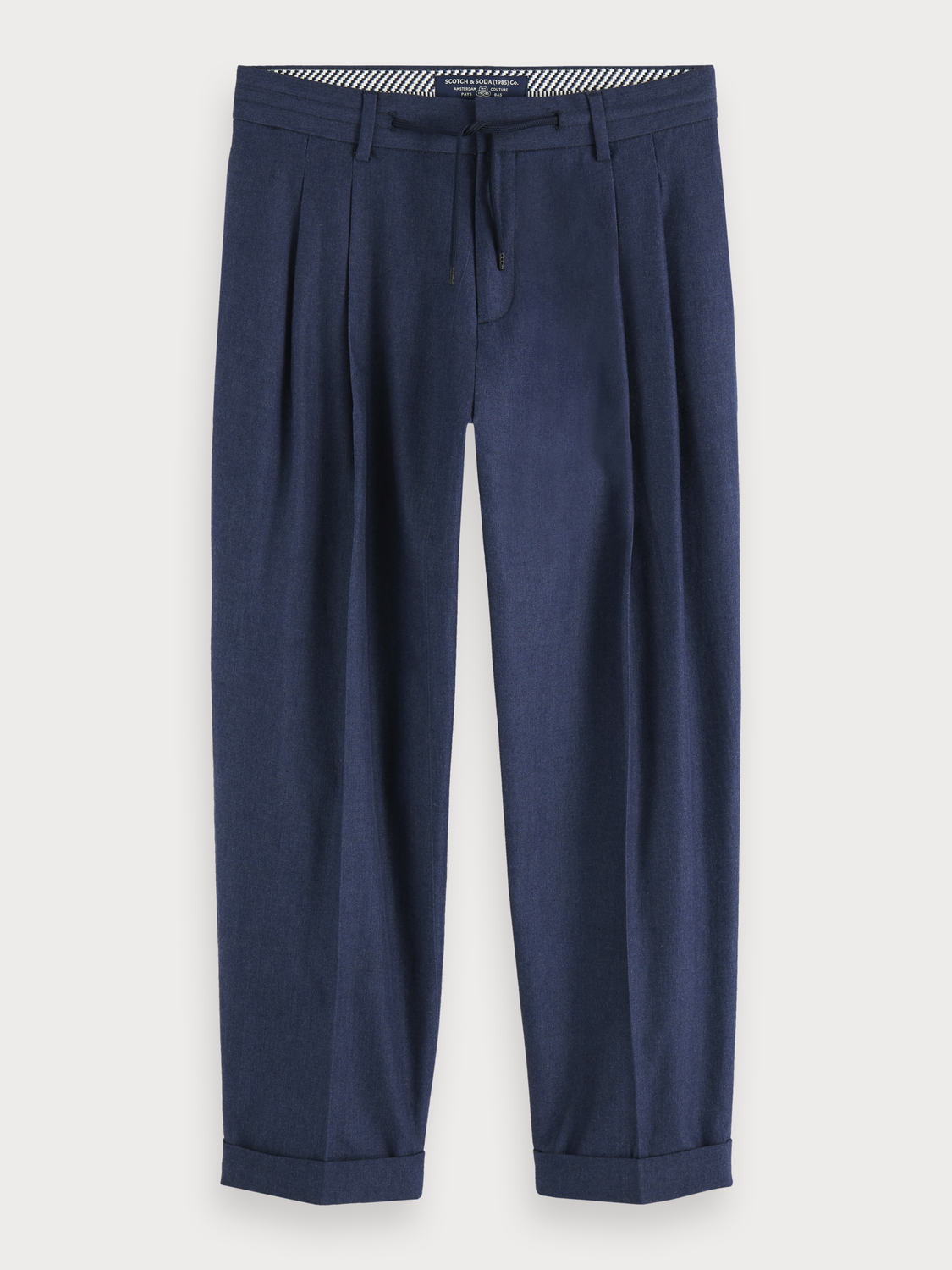 Men Pleated Chambray Trousers