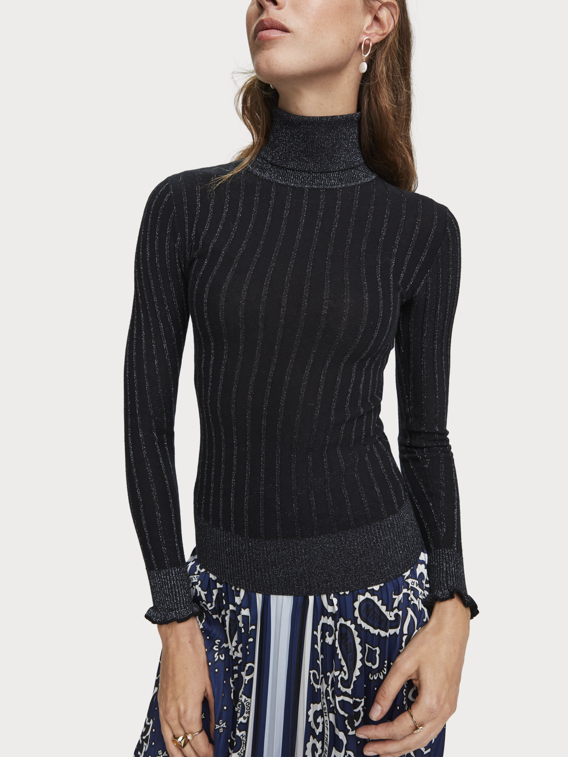 Women Rib Knit Turtleneck