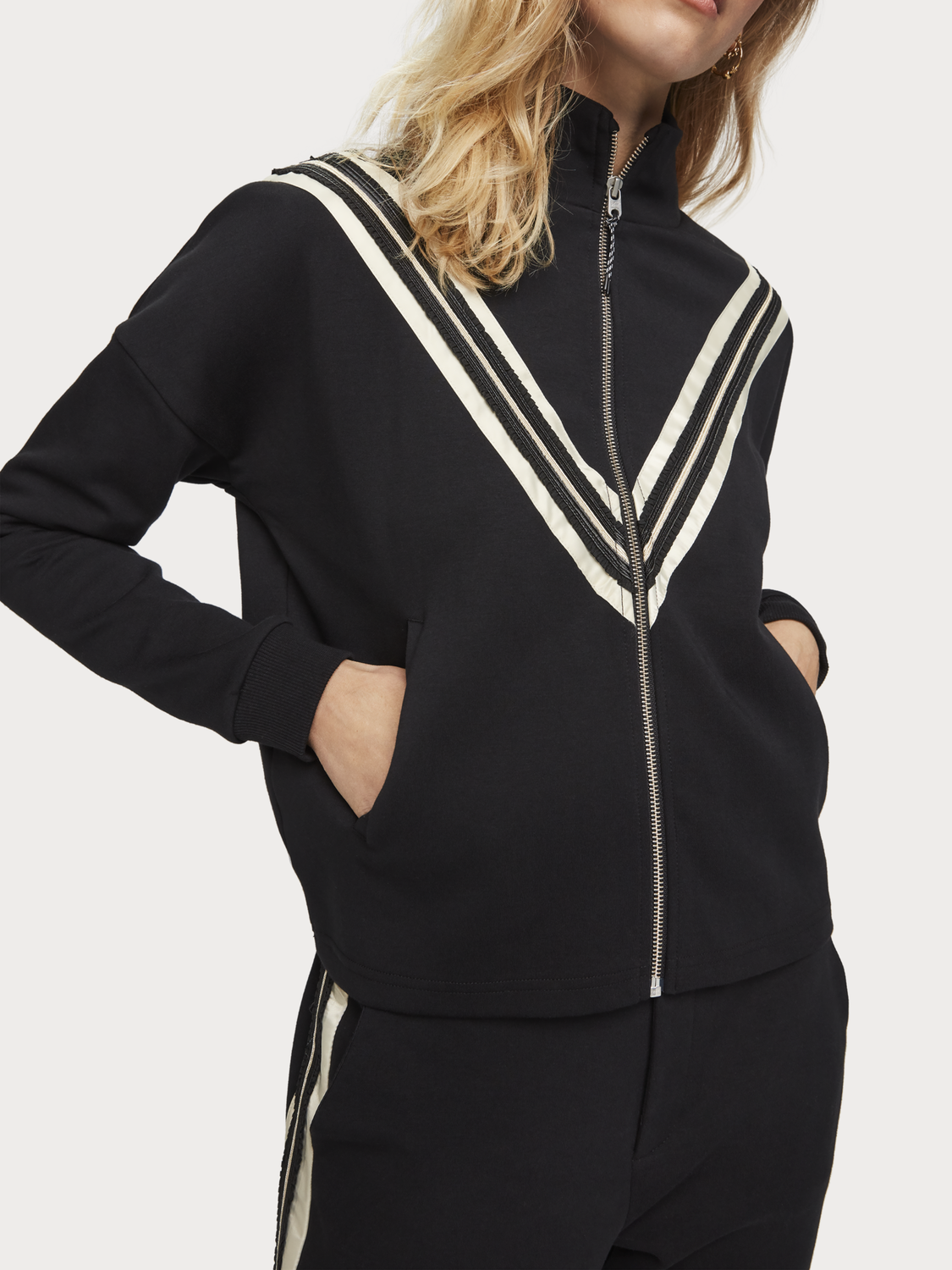 Women Tape Detail Track Jacket