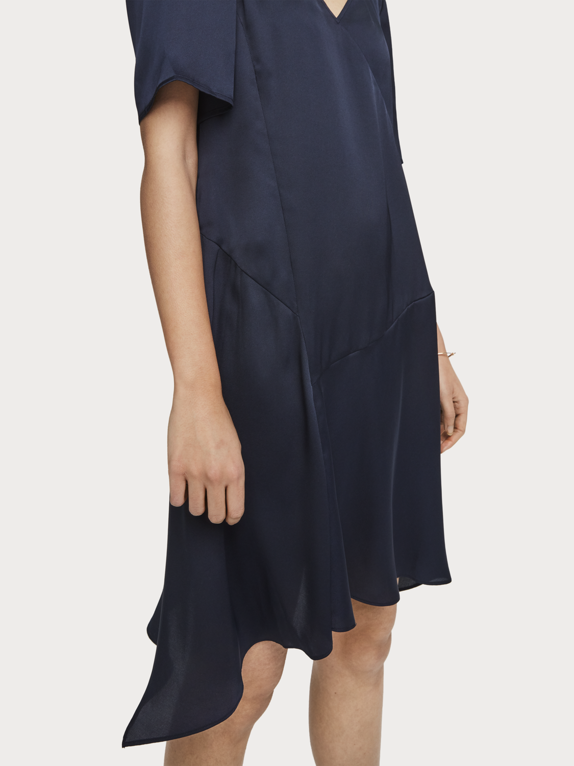 Women Asymmetric Satin Dress