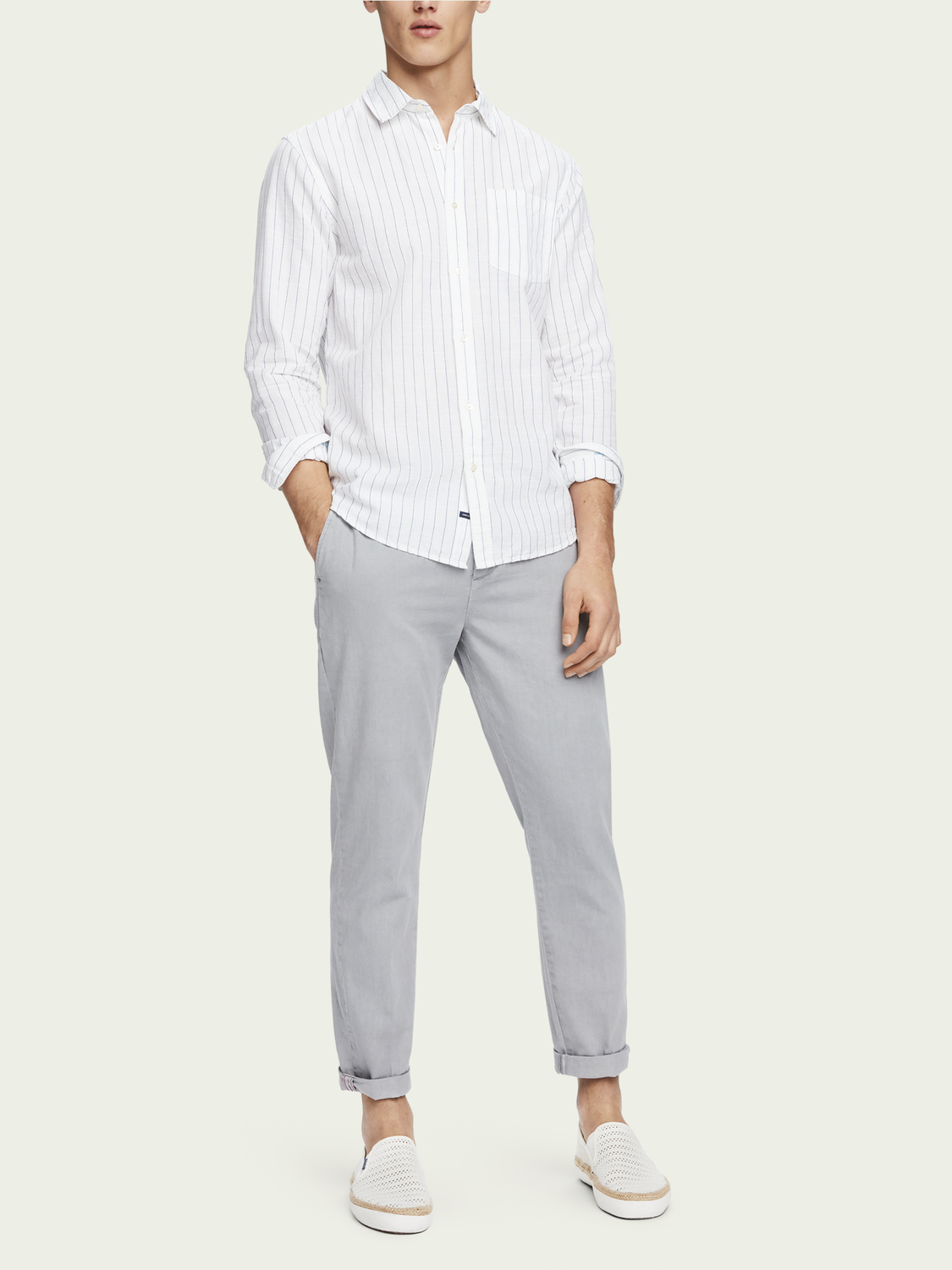 Men Warren - Cotton-Linen Trousers | Regular straight fit