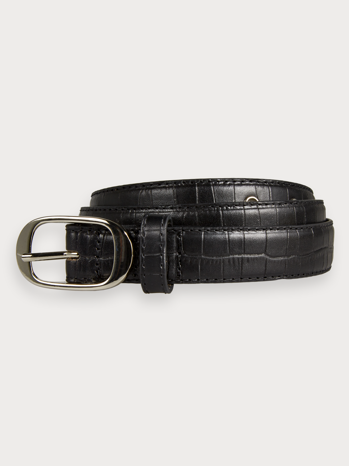 Women Leather Crocodile-Effect Belt