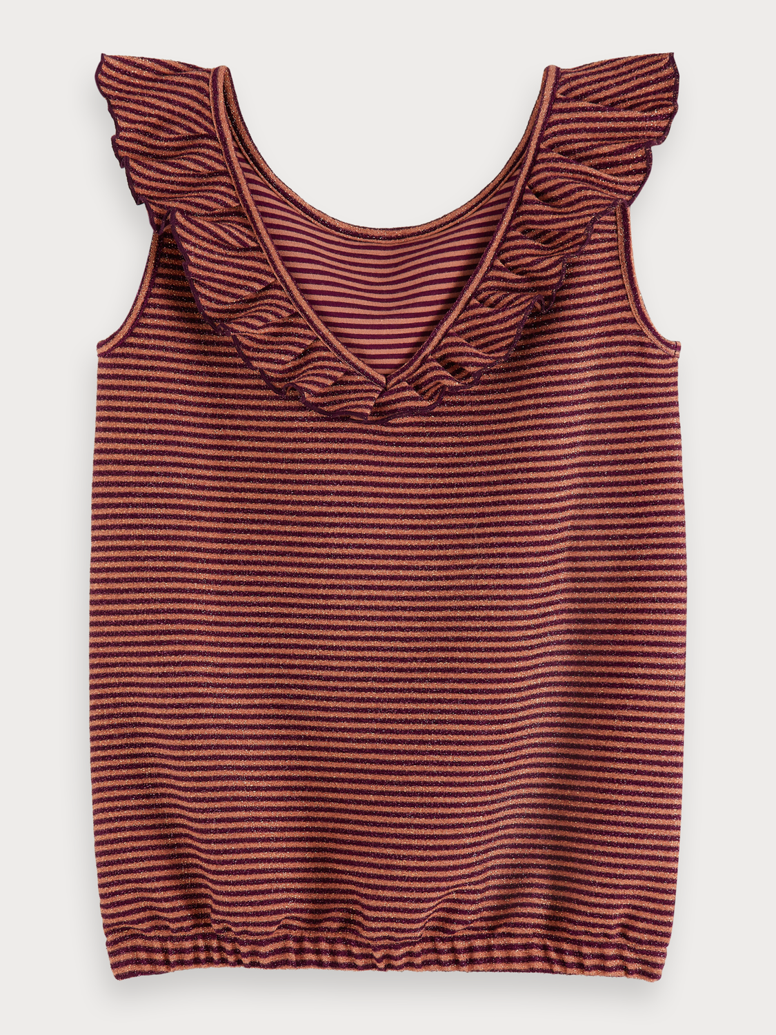 Girls Striped metallic tank top