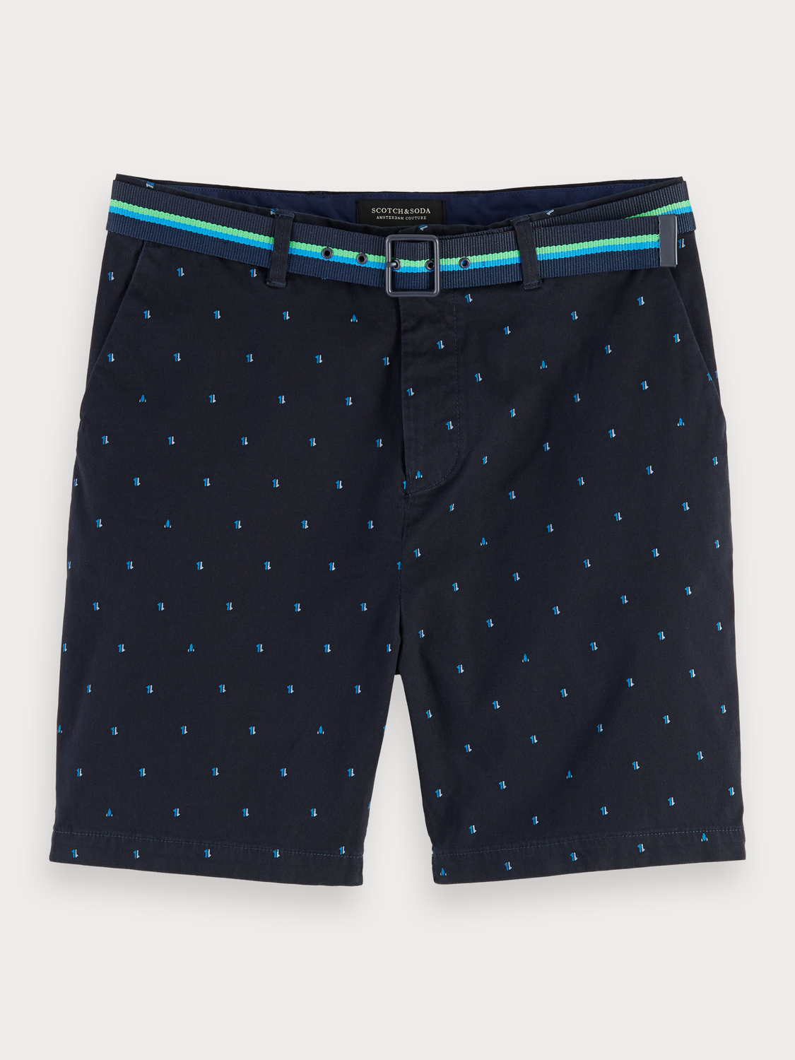 Men Mini Print Chino Shorts