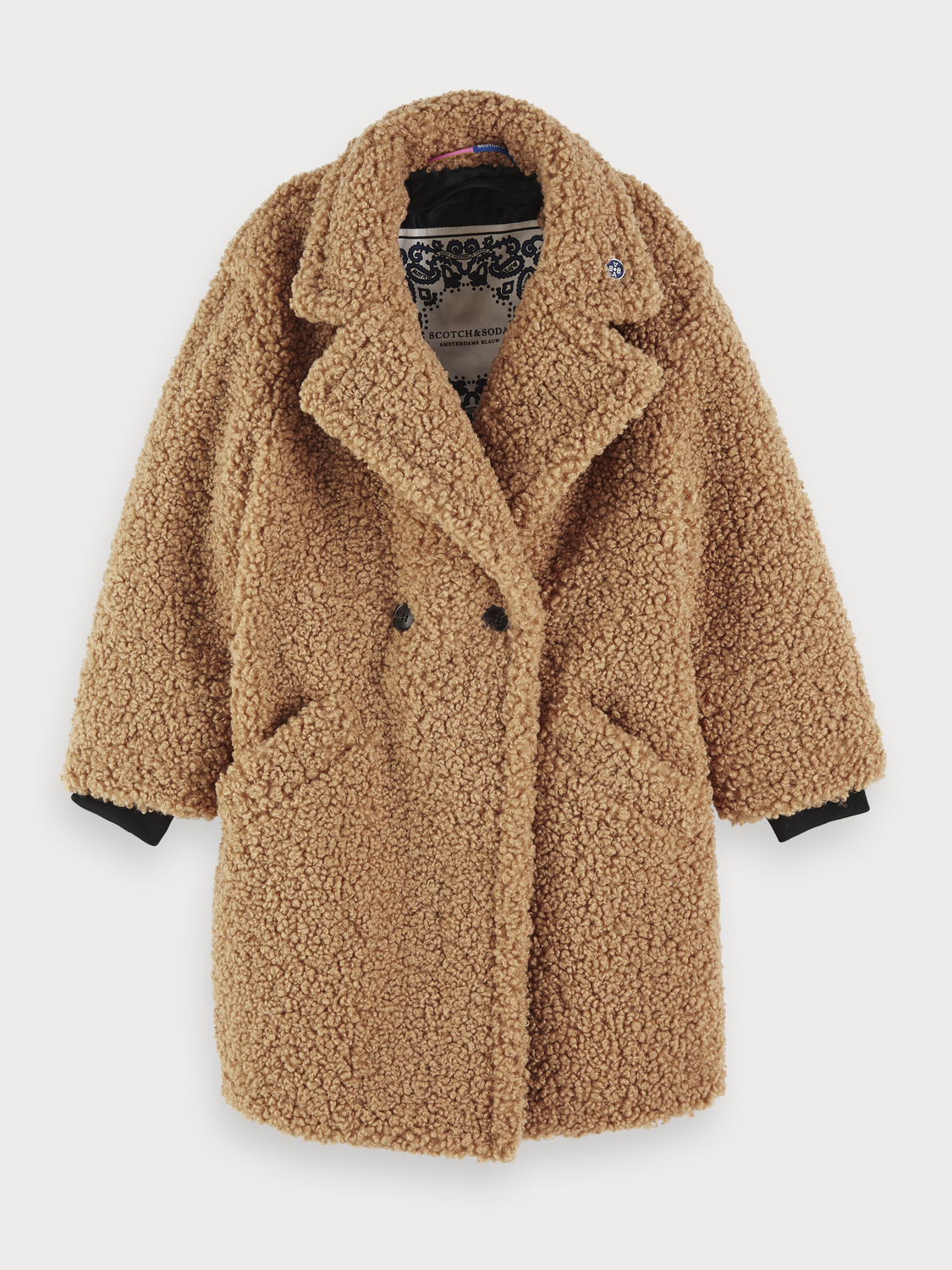 Girls Double Breasted Faux Teddy Coat
