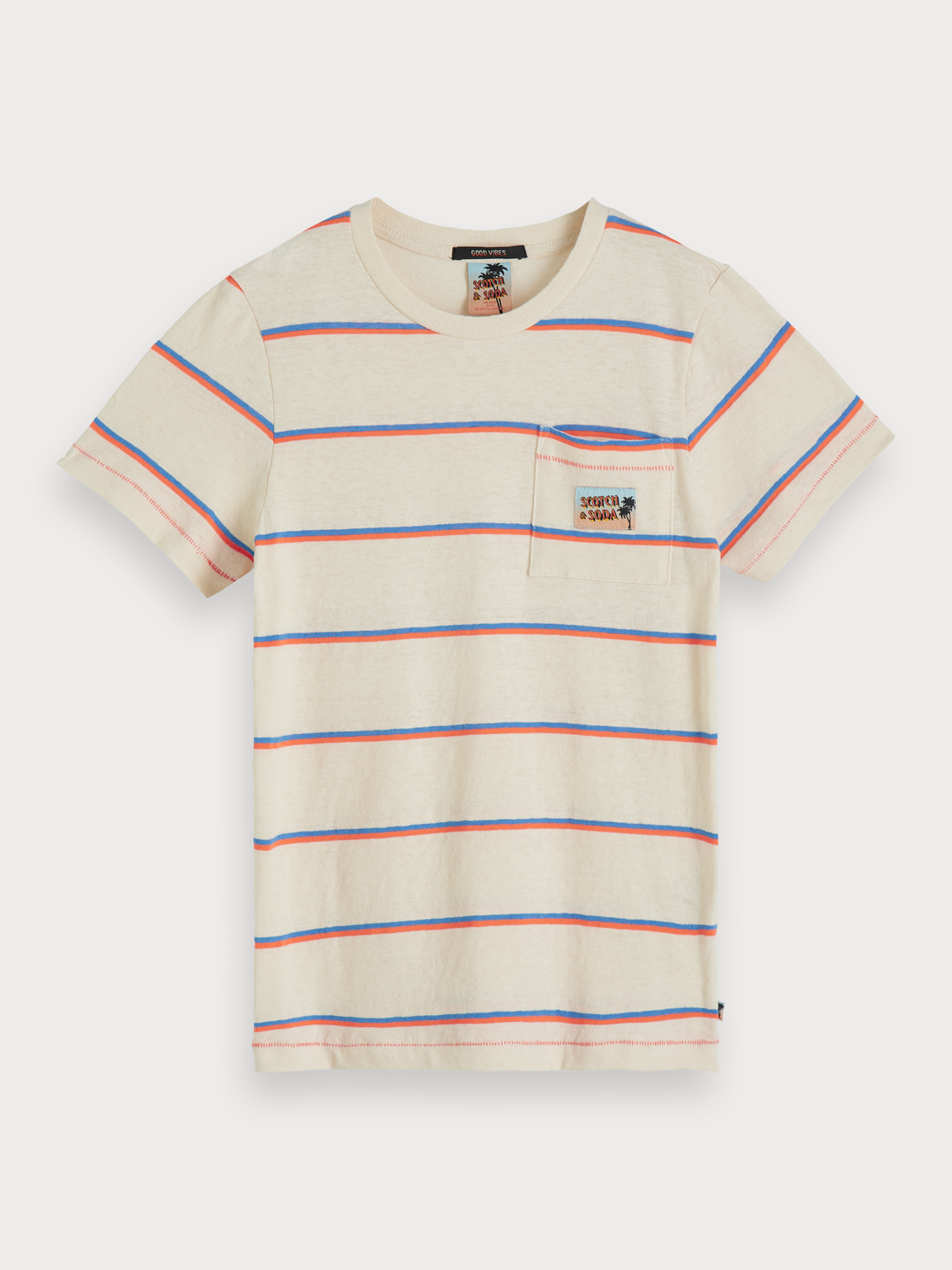 Boys Striped cotton-linen t-shirt