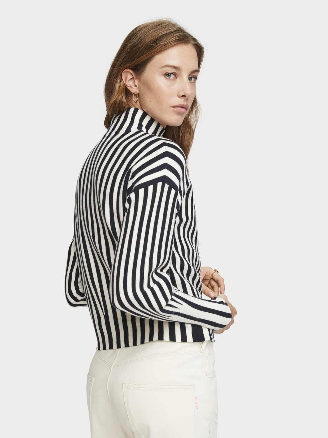 Women Striped Half-Zip Pullover