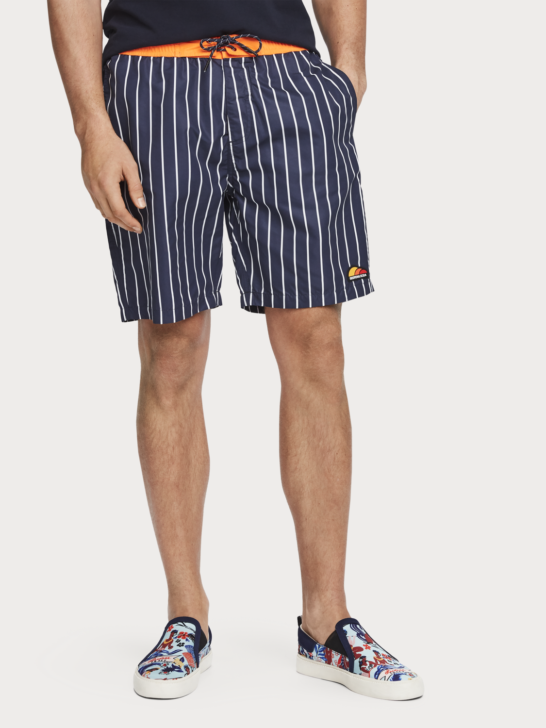 Men Striped Swim Shorts