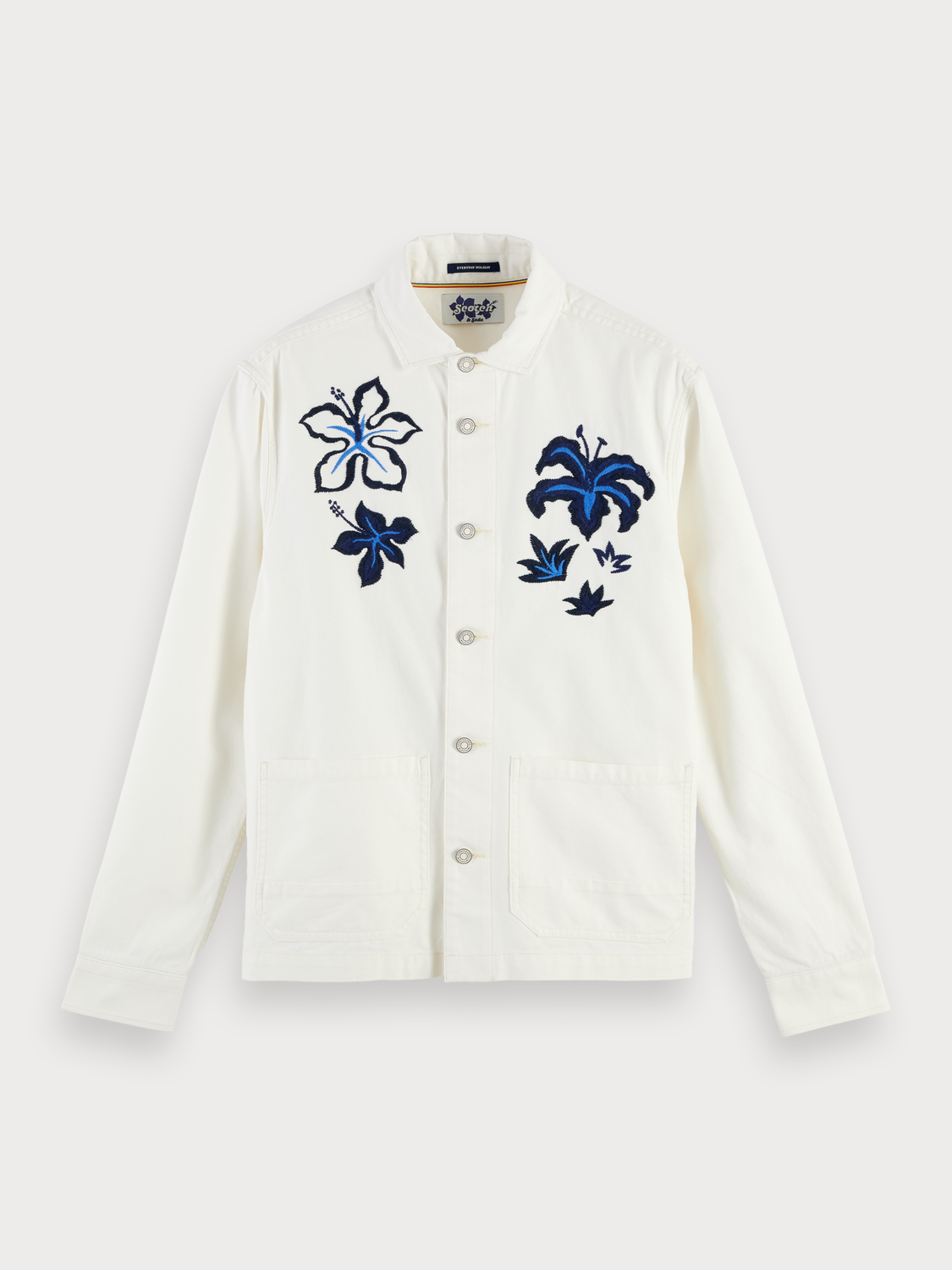 Men Embroidered Worker Jacket