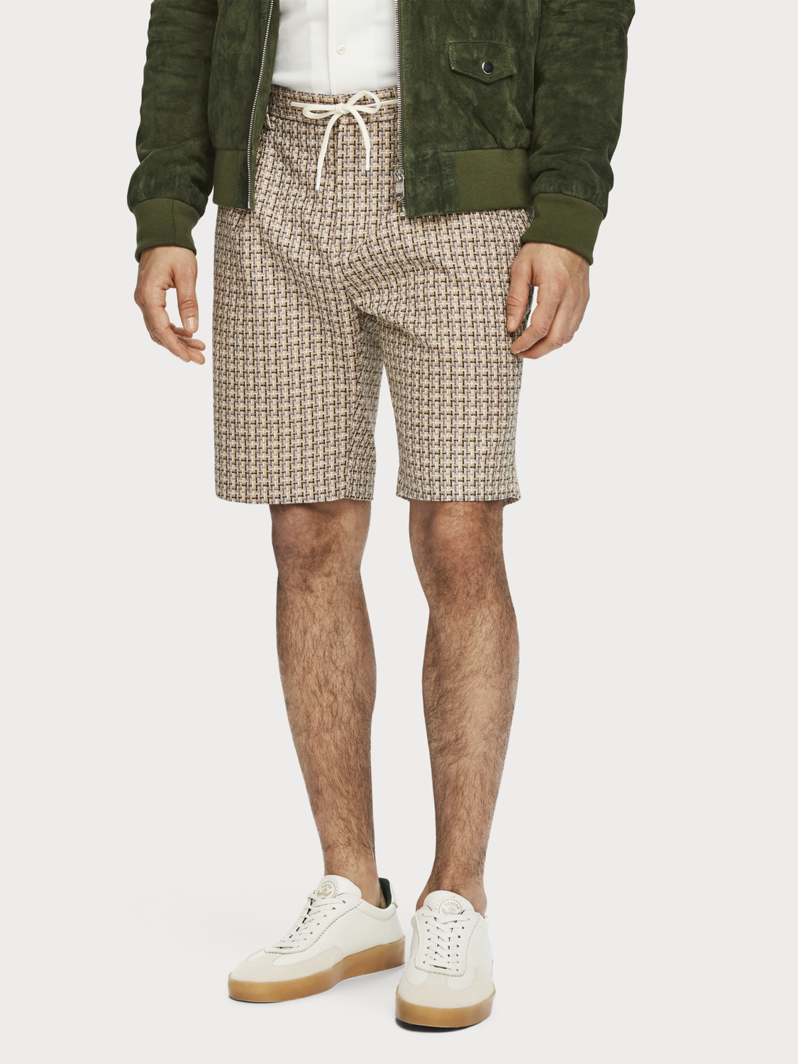 Men Structured Yarn-Dyed Shorts