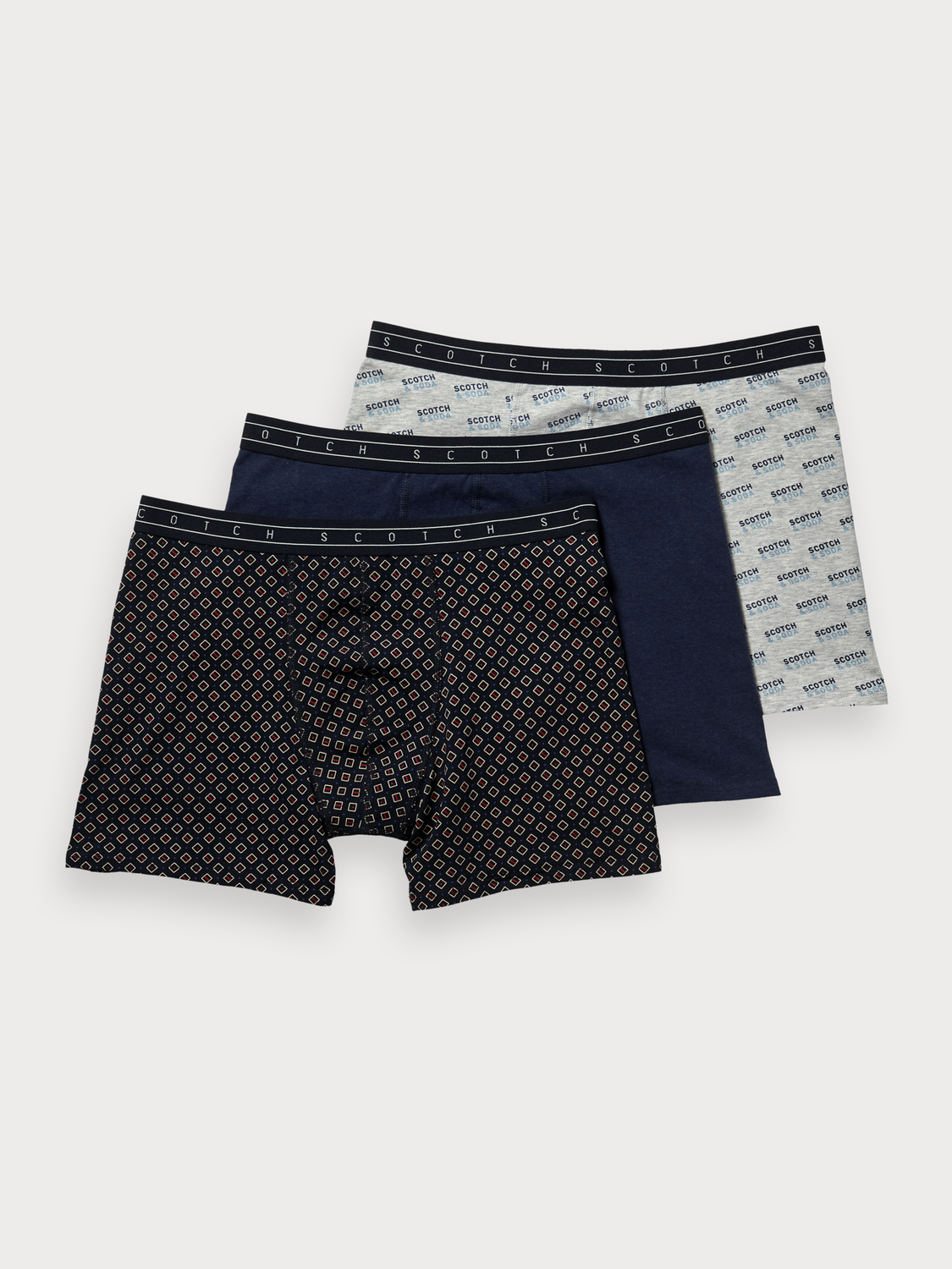 Men 3-Pack Printed & Solid Boxer Shorts
