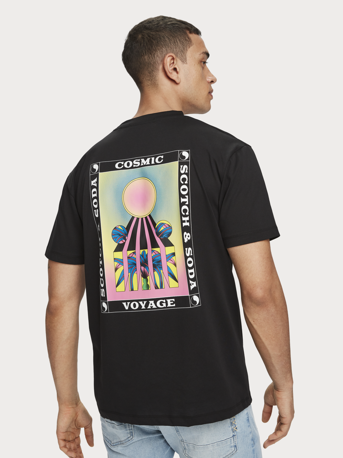 Heren T-shirt met artwork op de rug