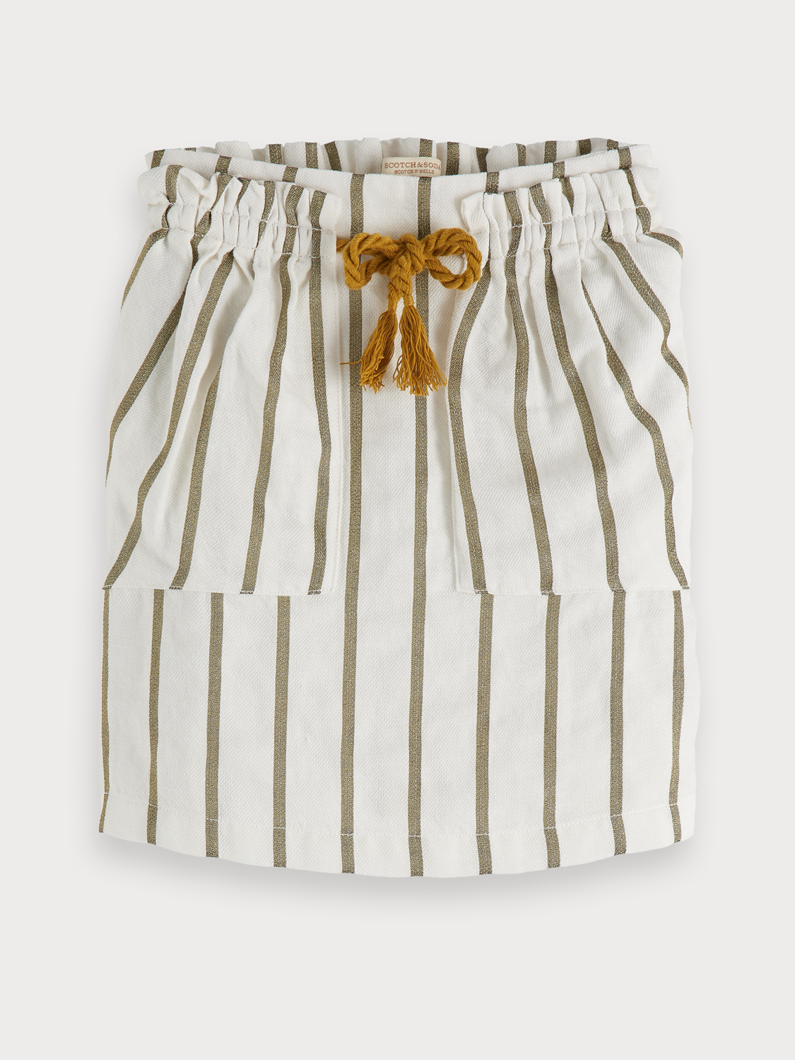 Girls Striped Linen Blend Skirt