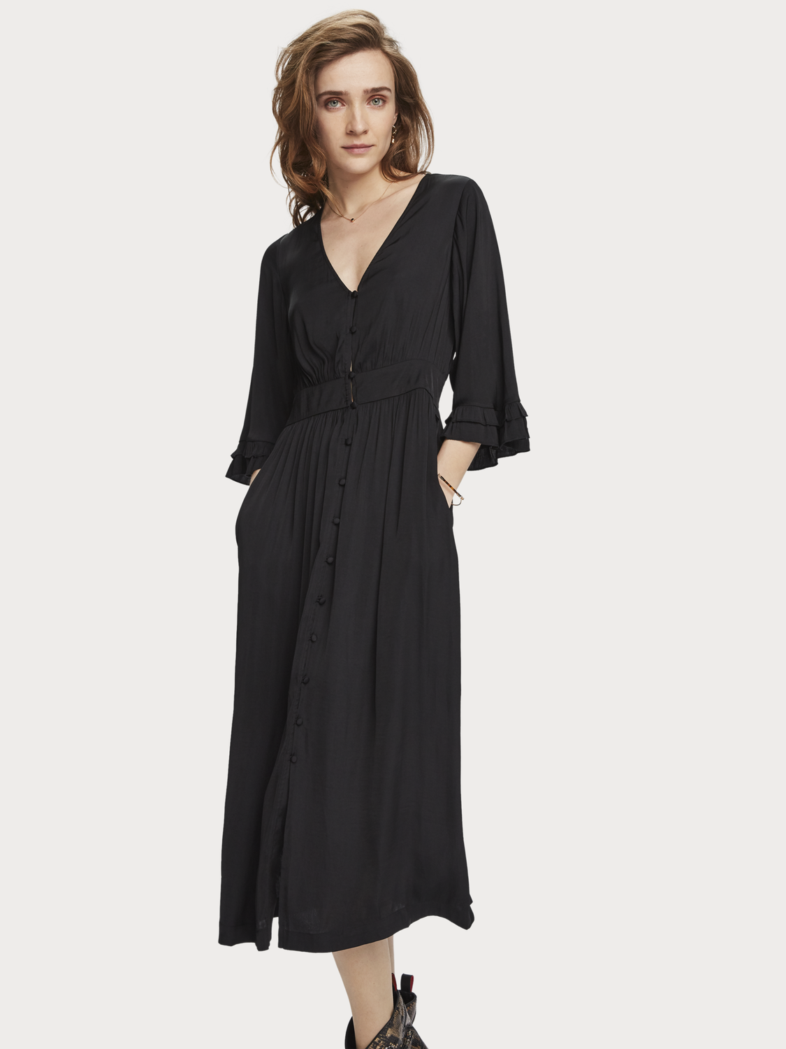 Women V-Neck Midi Dress