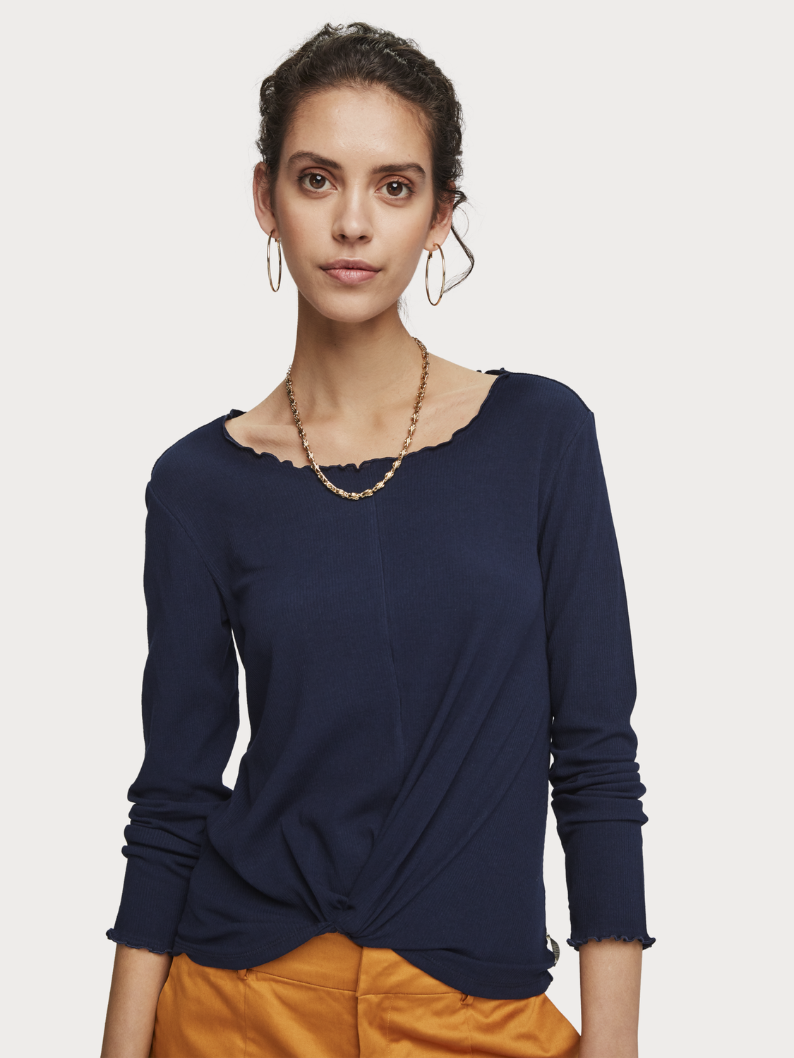 Women Rib Knitted Knot Front Top