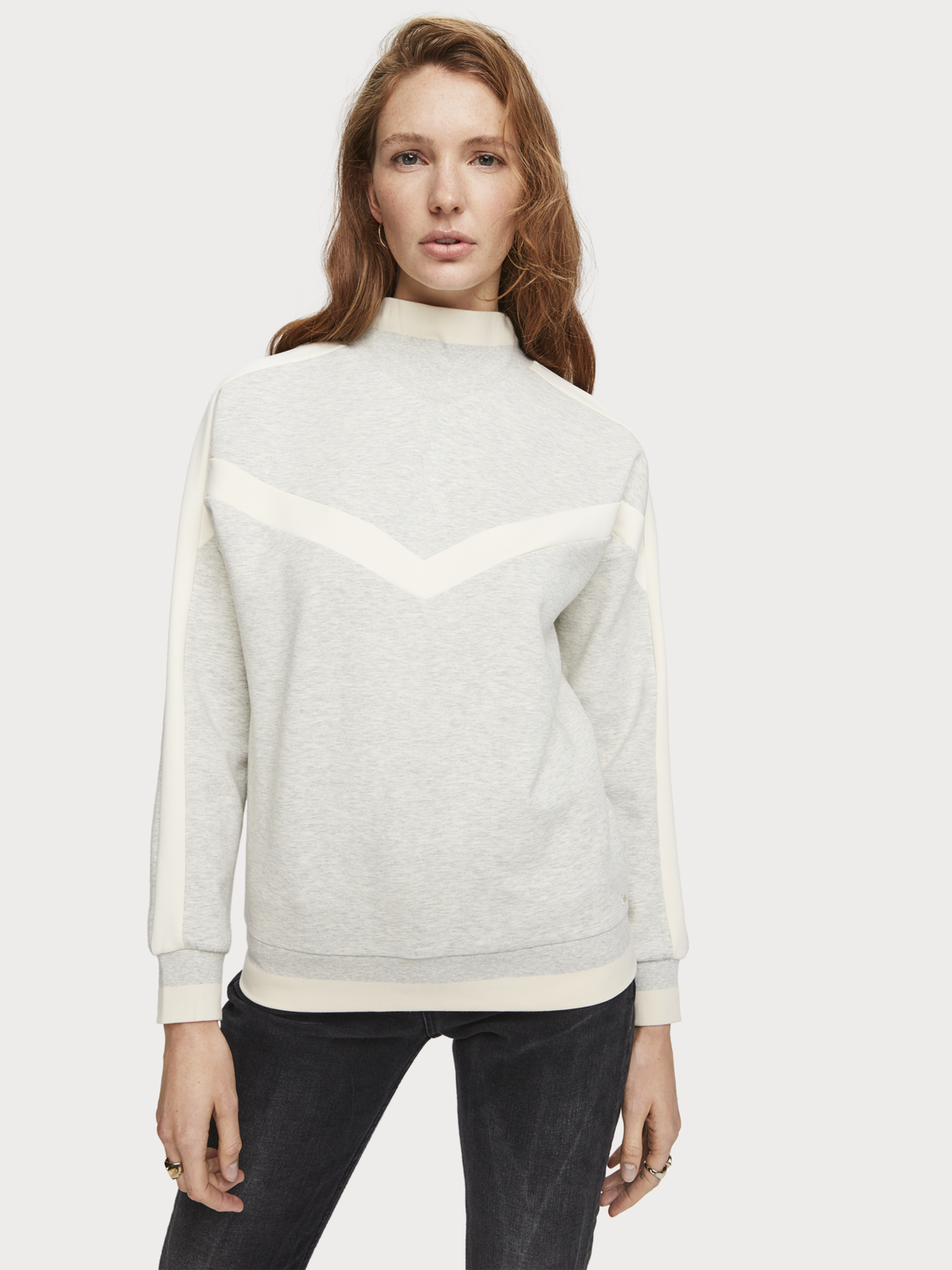 Women High Neck Colour Block Sweater