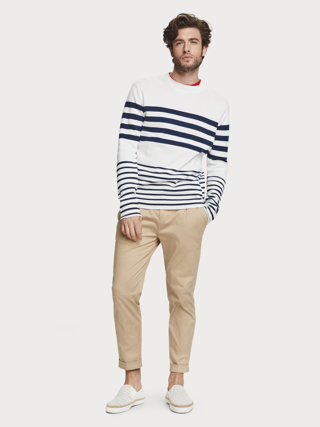 Men Structured Crew Neck Pullover