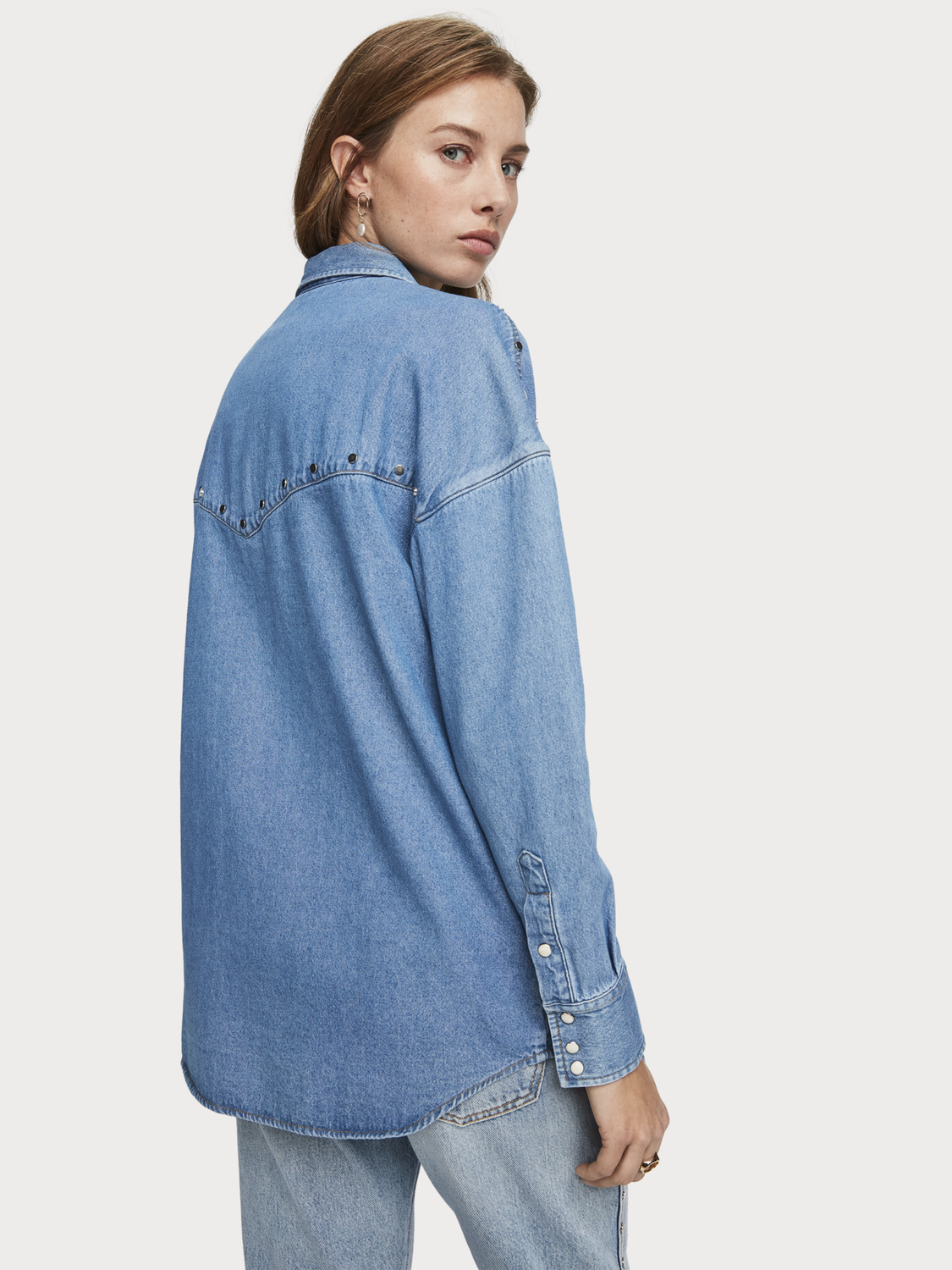 Women Oversized Studded Denim Shirt