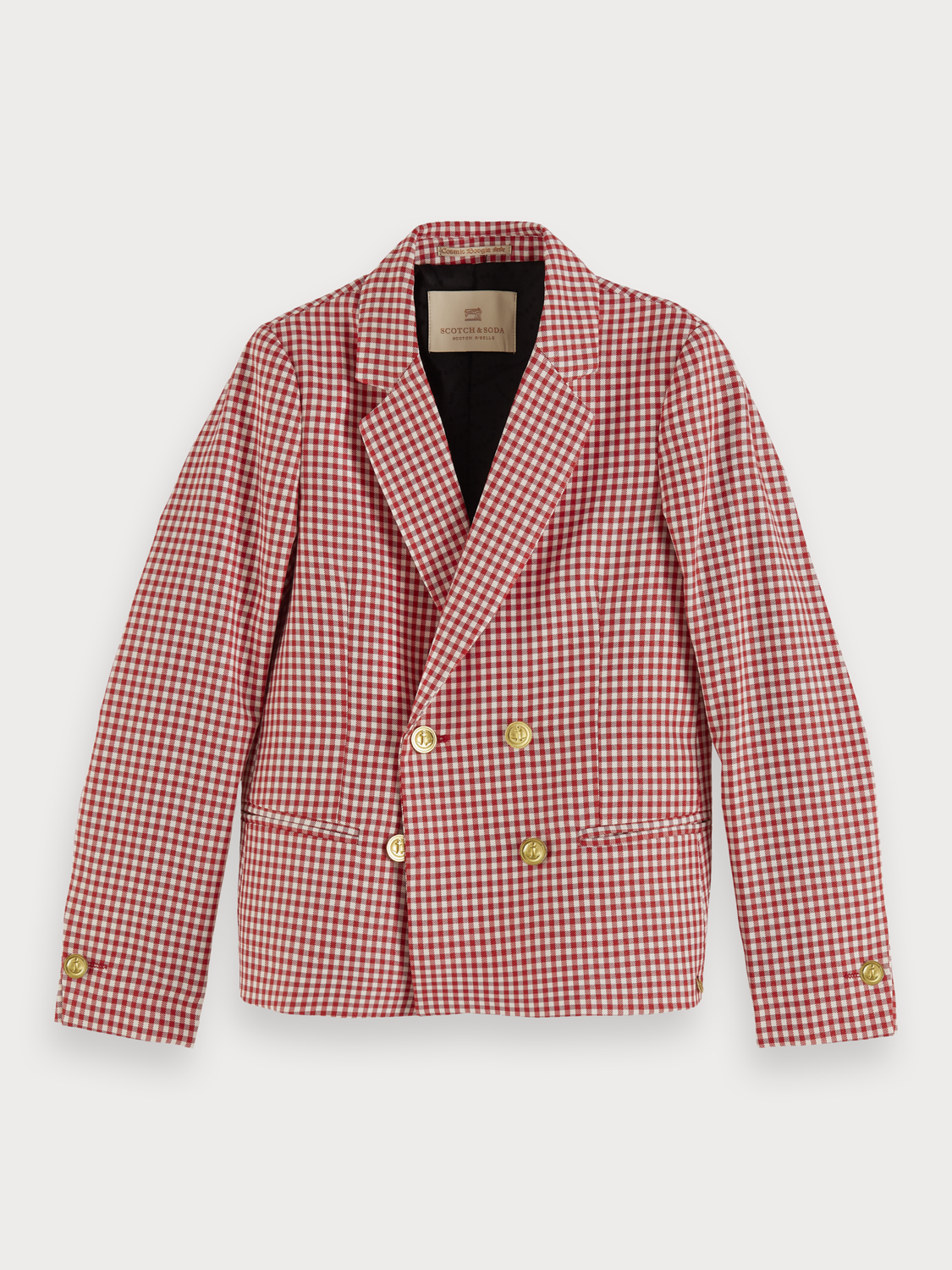 Bambina Double breasted checked blazer with lurex detail