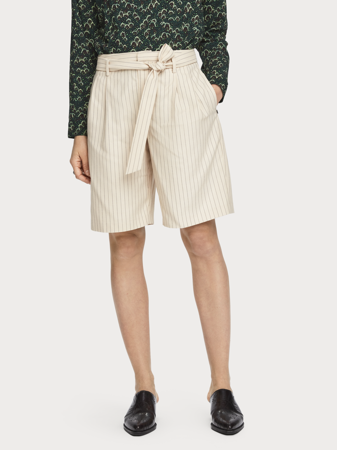 Women Tie Belt Pinstripe Shorts