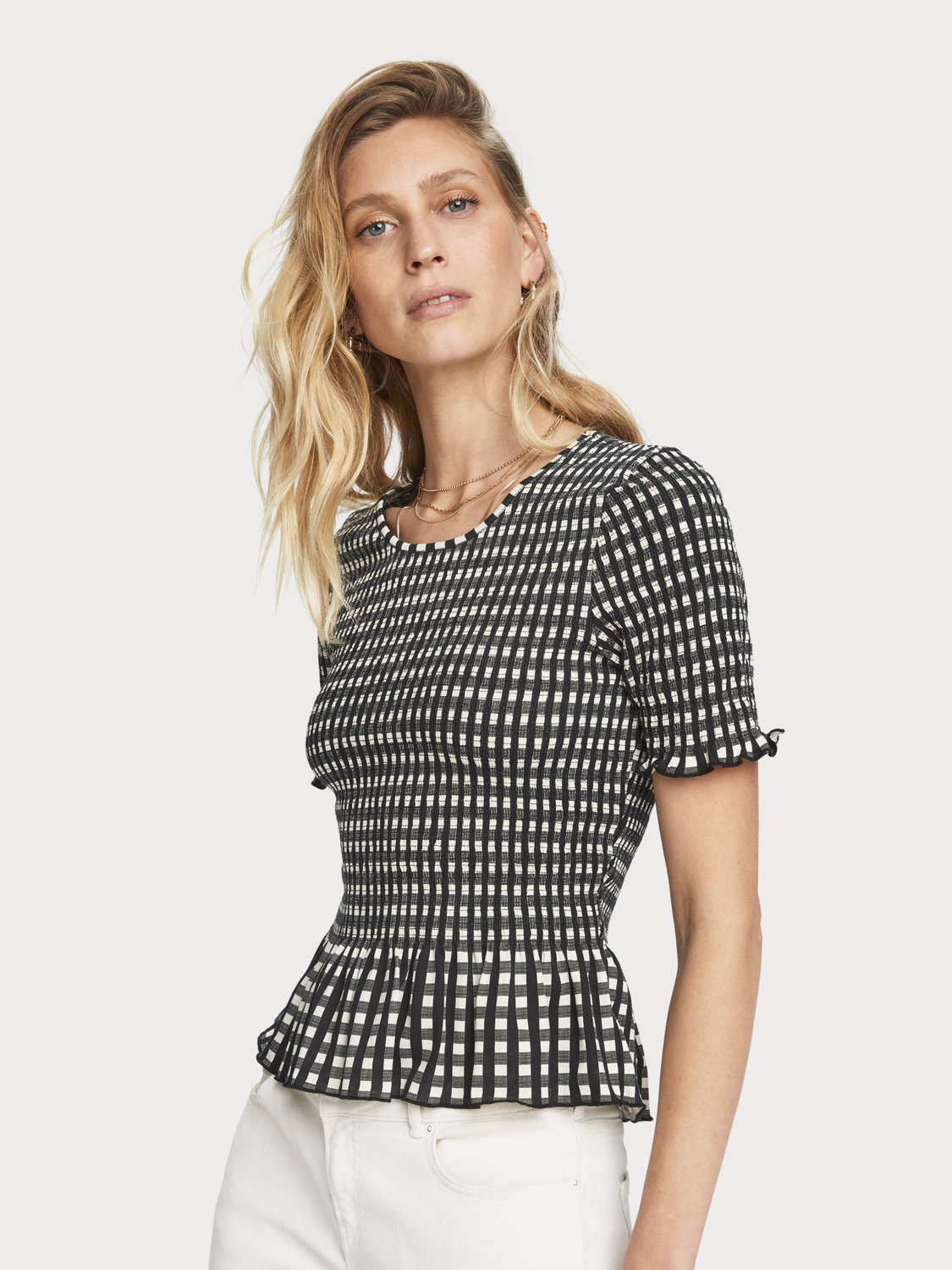 Women Smocked Checked T-Shirt