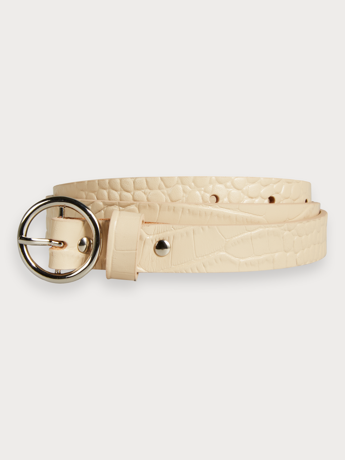 Women Skinny Crocodile-Effect Belt