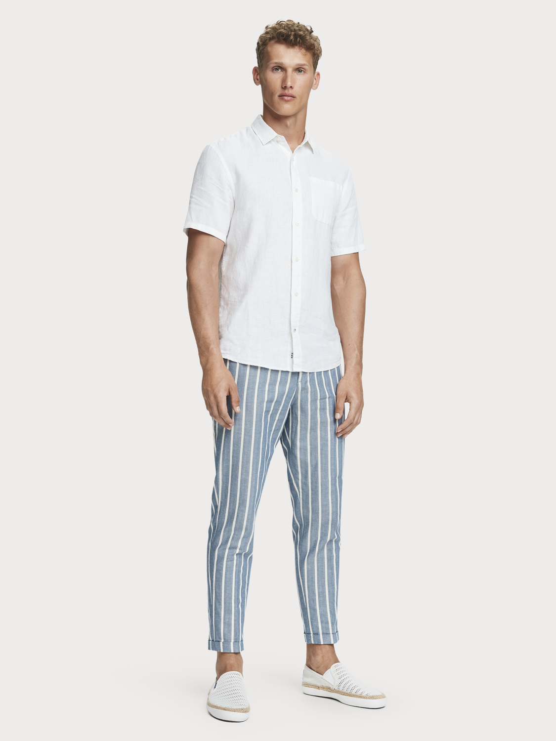 Men Fave - striped herringbone trousers | Regular tapered fit