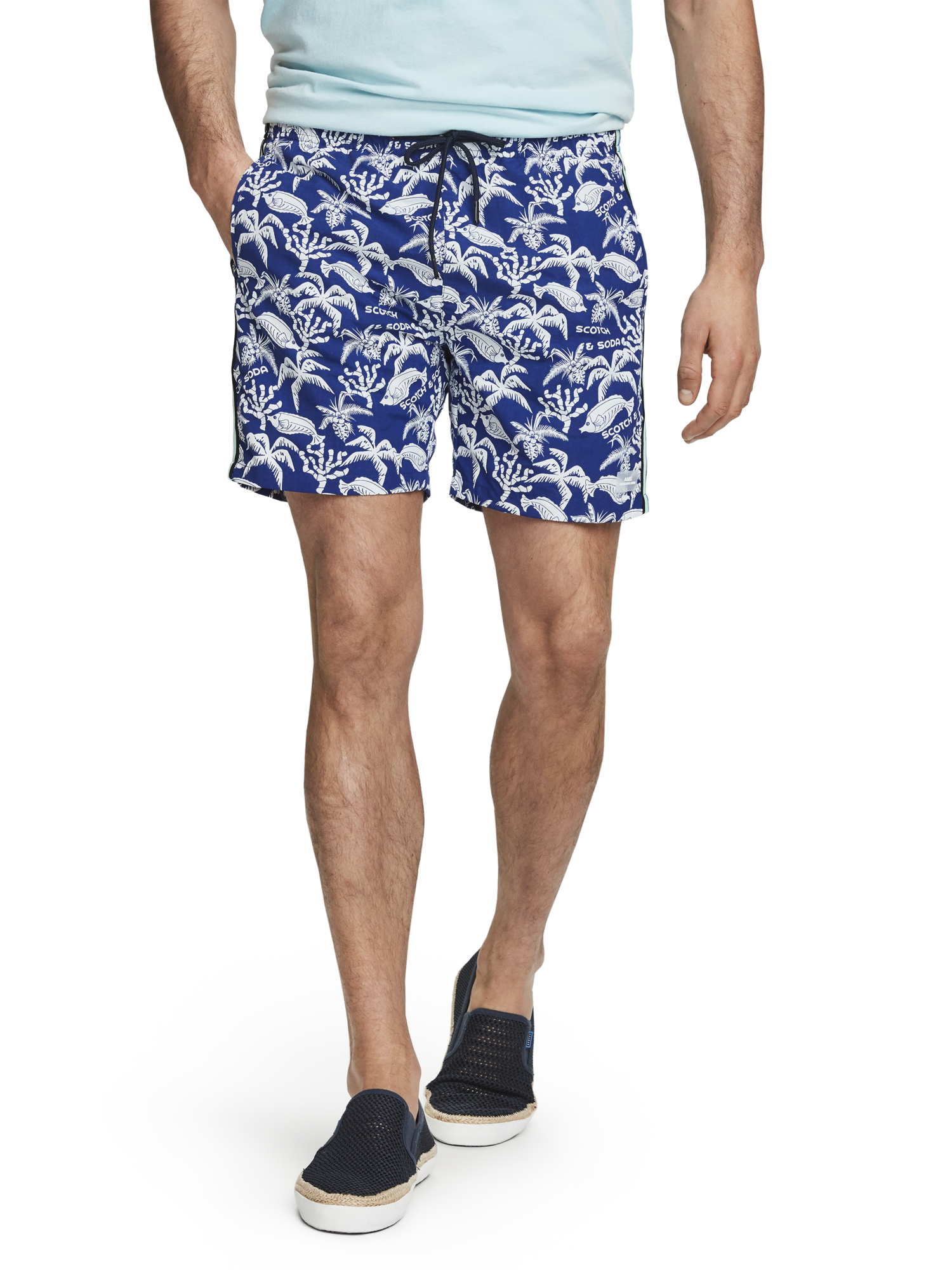 Scotch /& Soda Mens The Pool Side Medium Length Swimshort with Palm Print