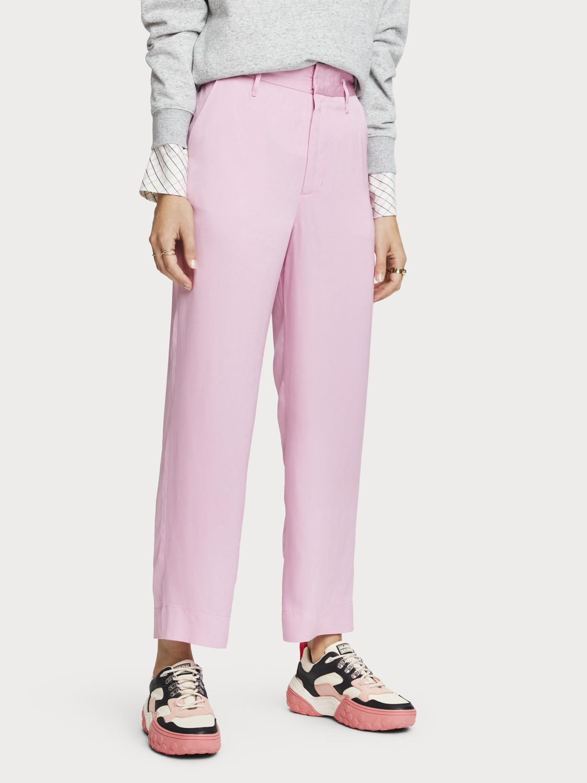 Mujer Pantalones cropped rosas de crepé