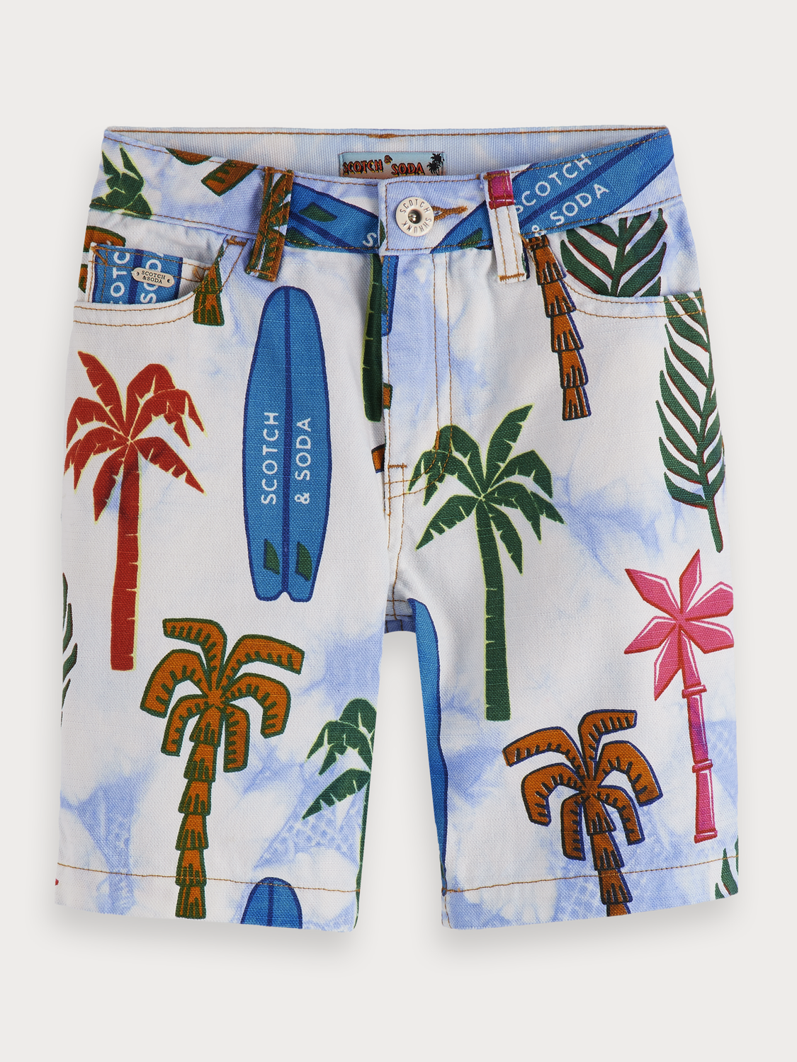Boys Printed Tie Dye Denim Shorts