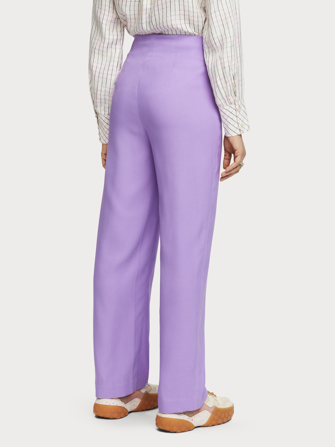 Women Wide Leg Crepe Trousers
