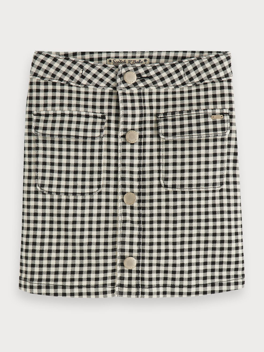Girls Checked button front skirt