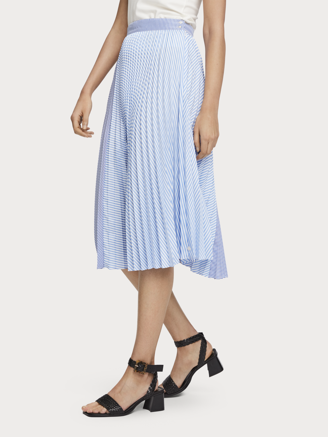 Women Mixed Stripe Pleated Skirt