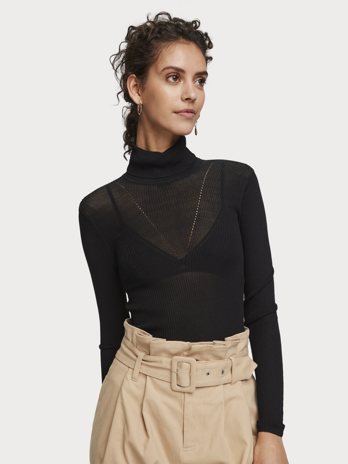 Women Rib Knitted Turtleneck