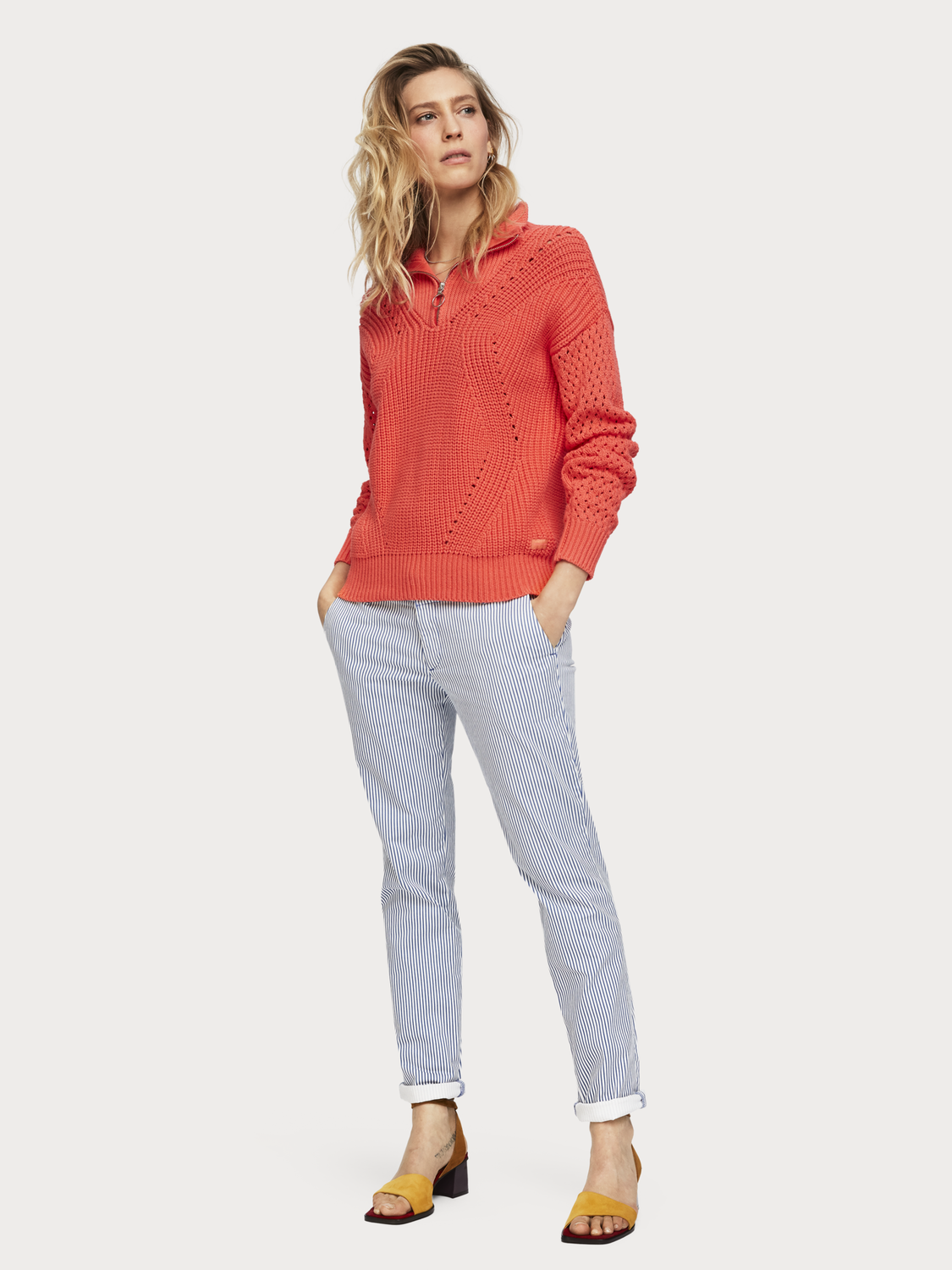 Women Cable Knit Half-Zip Pullover