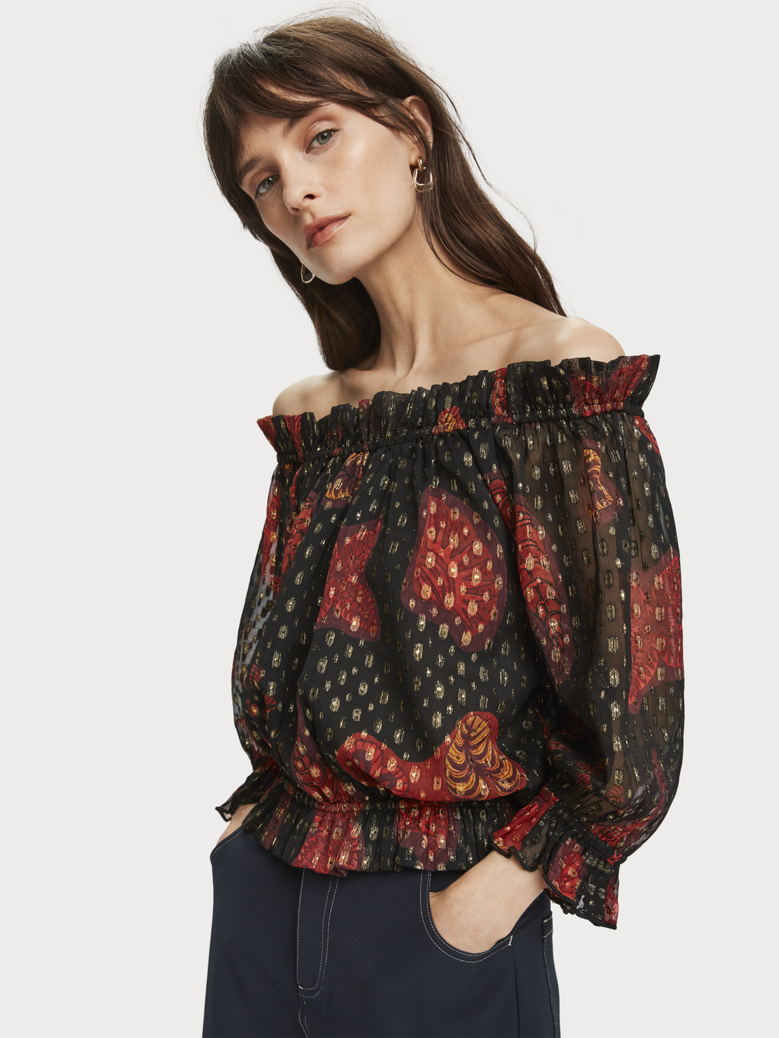 Women Leaf print off shoulder top