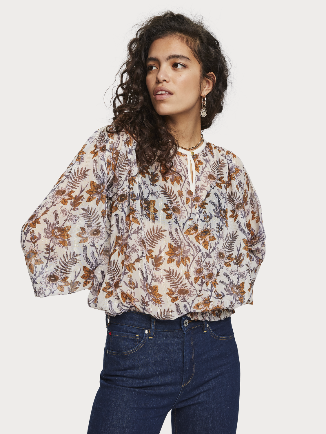 Women Sheer Floral Print Top