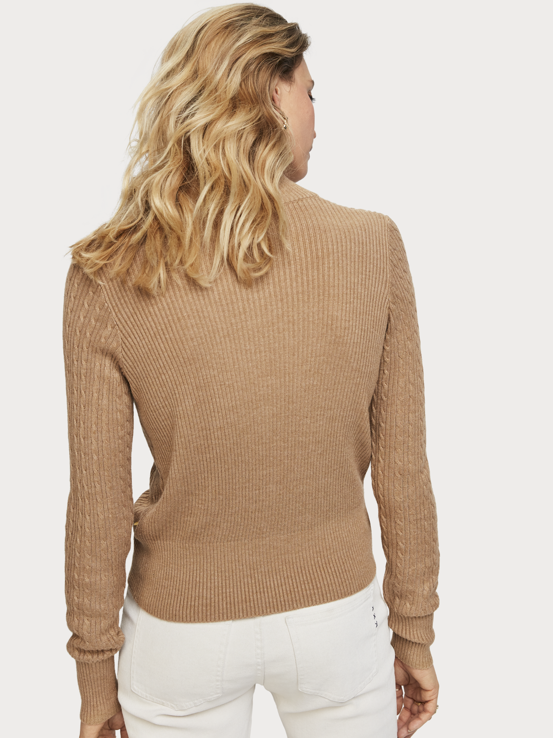 Women Cable Knit Zip-Up Pullover