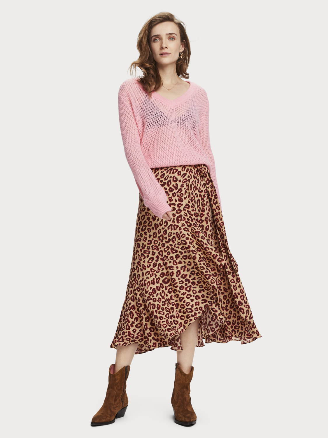Women Midi Wrap Skirt
