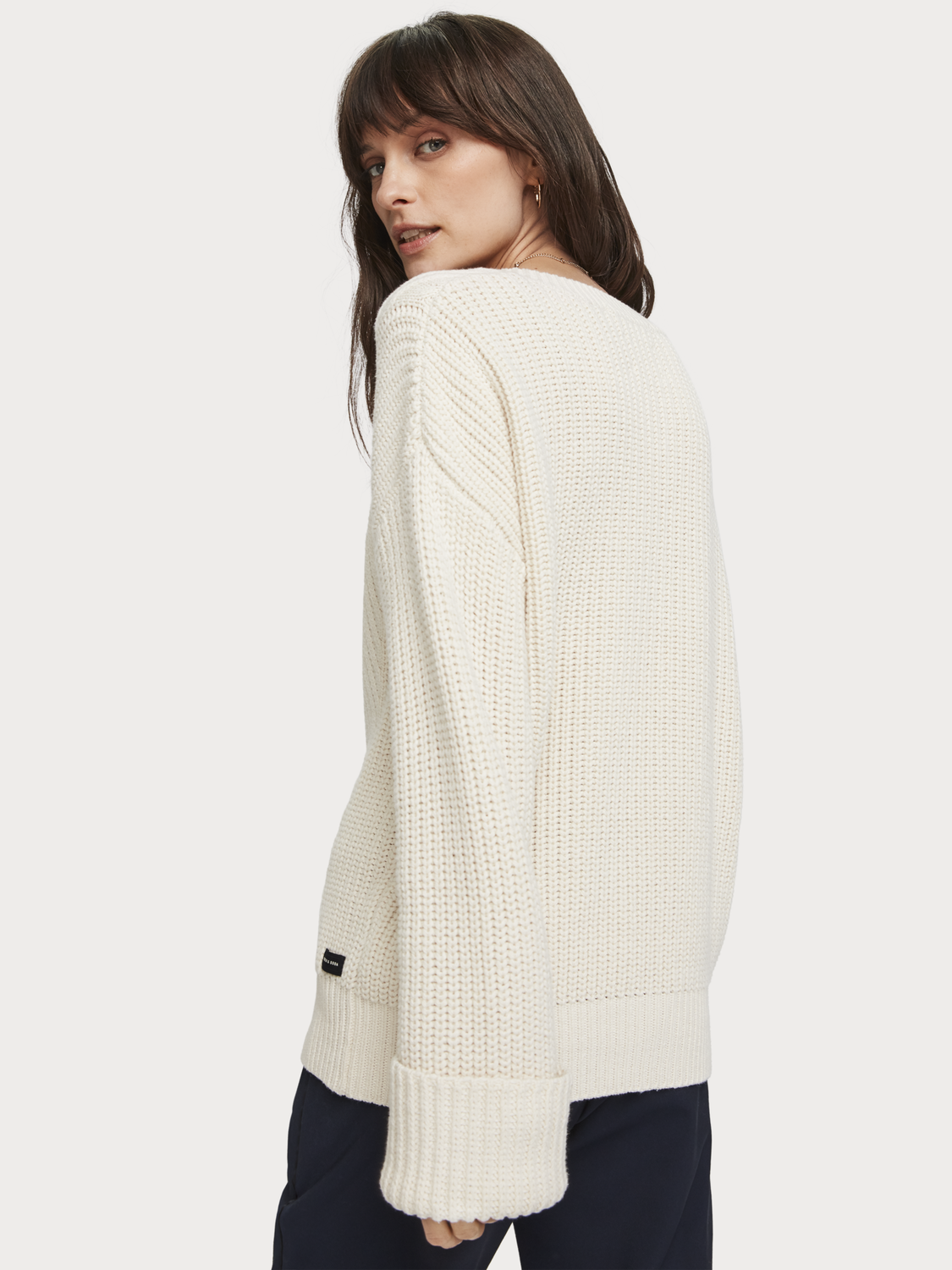 Women Chunky Knit V-Neck Pullover
