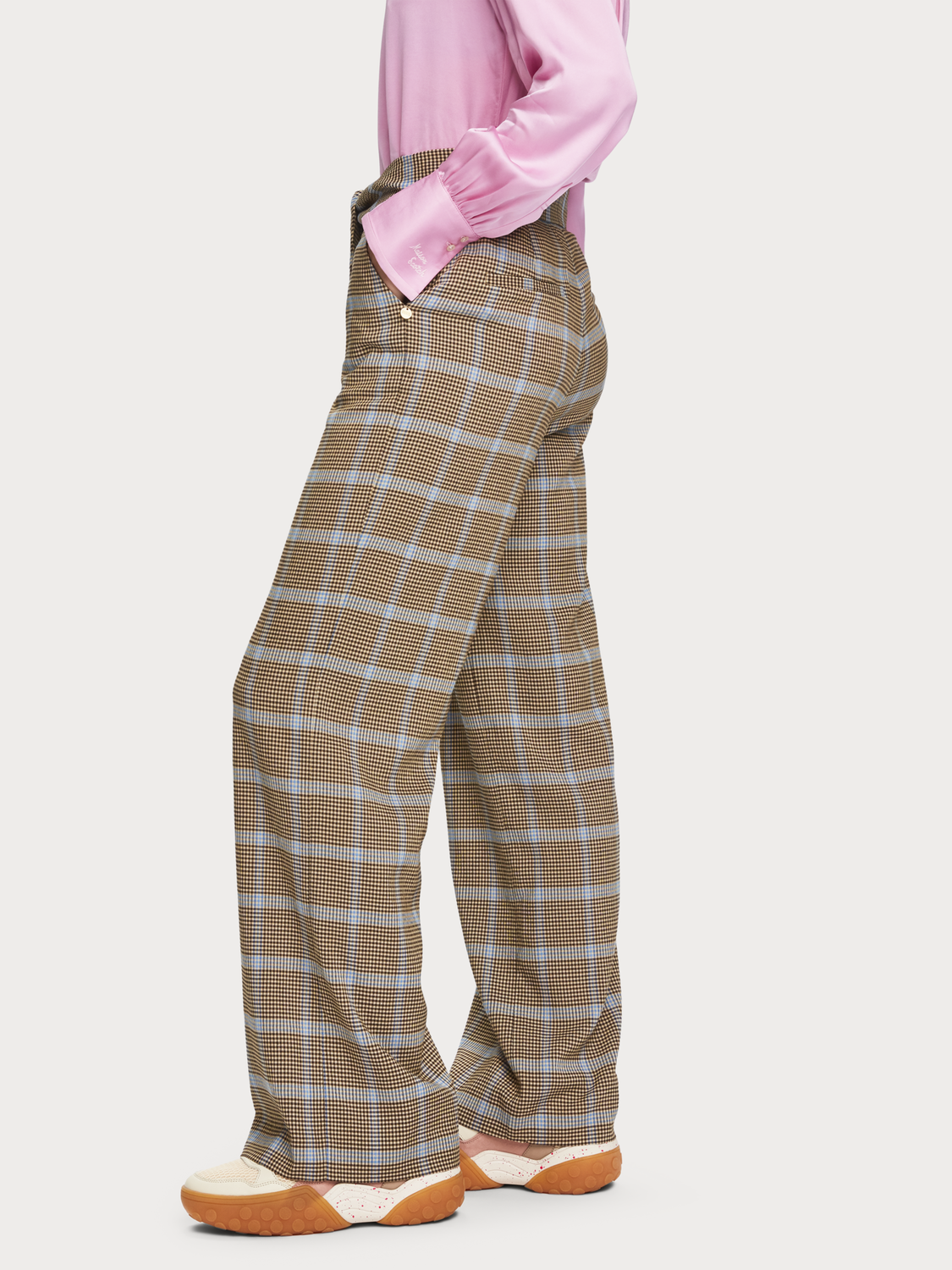 Women Checked Seersucker Trousers