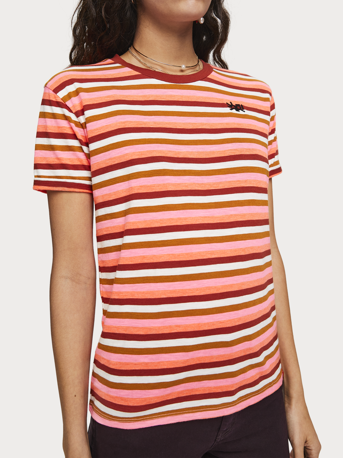 Women Striped Crew Neck T-Shirt